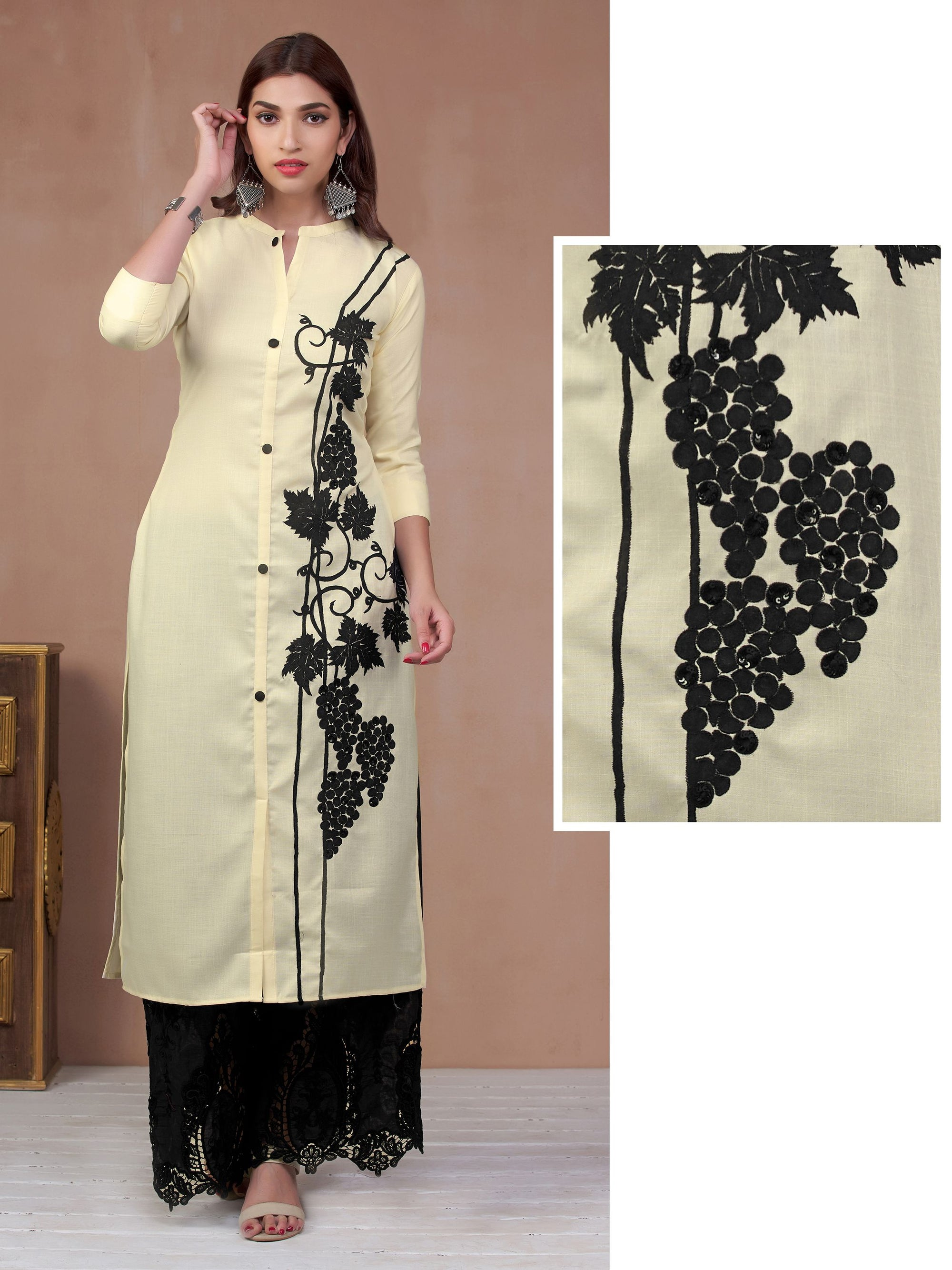 Maple Leaf Embroidered Panel Kurti