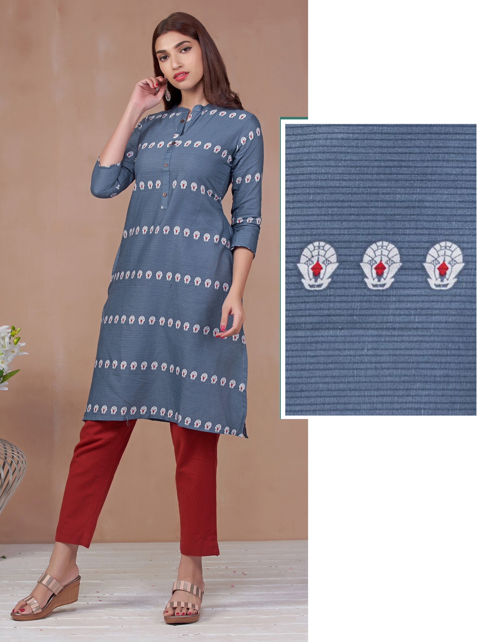 Abstract Egyptian Printed Short Kurti