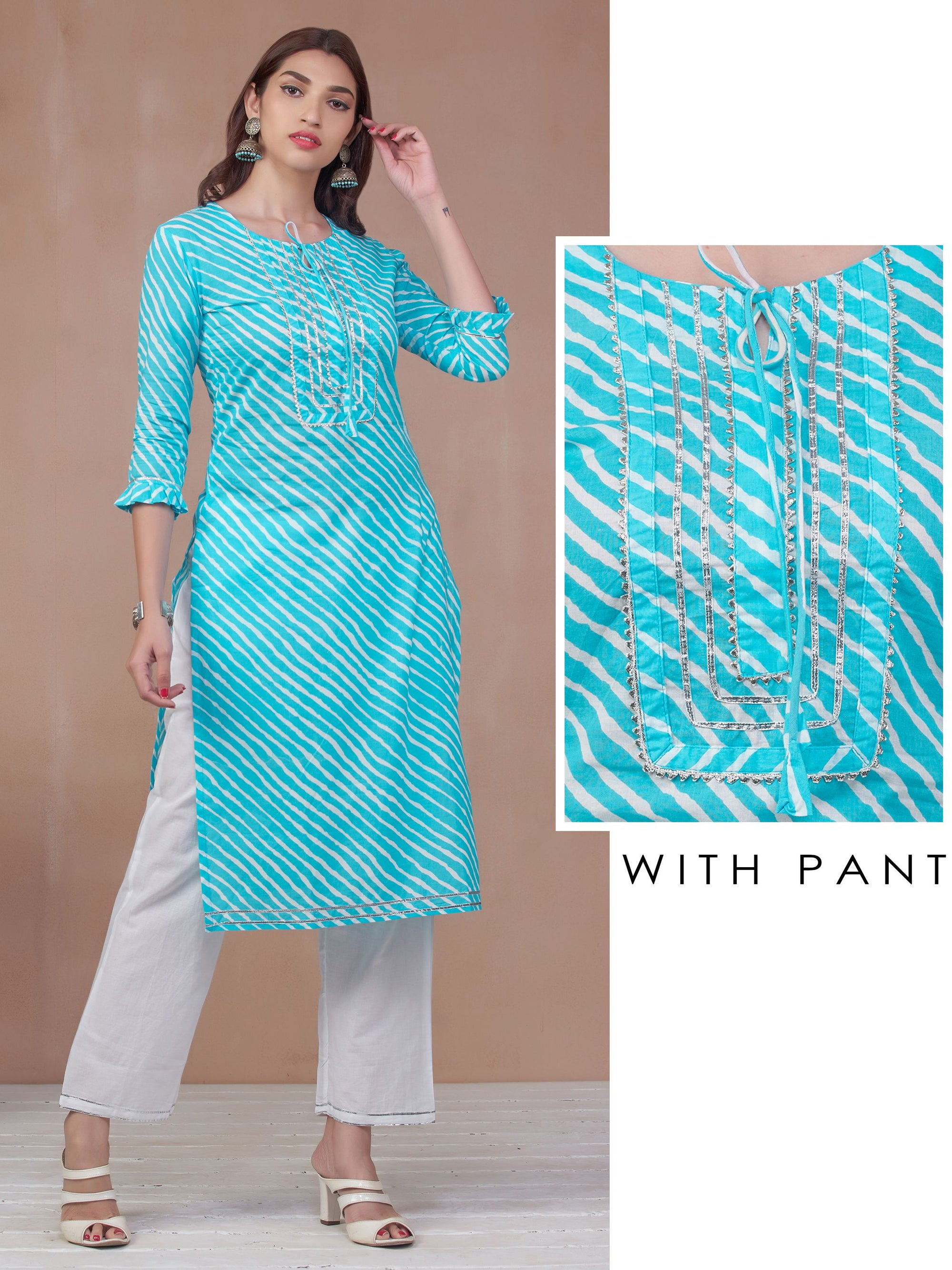 Lehariya Printed & Temple Gota Adorned Kurti with Pant – Aqua Blue