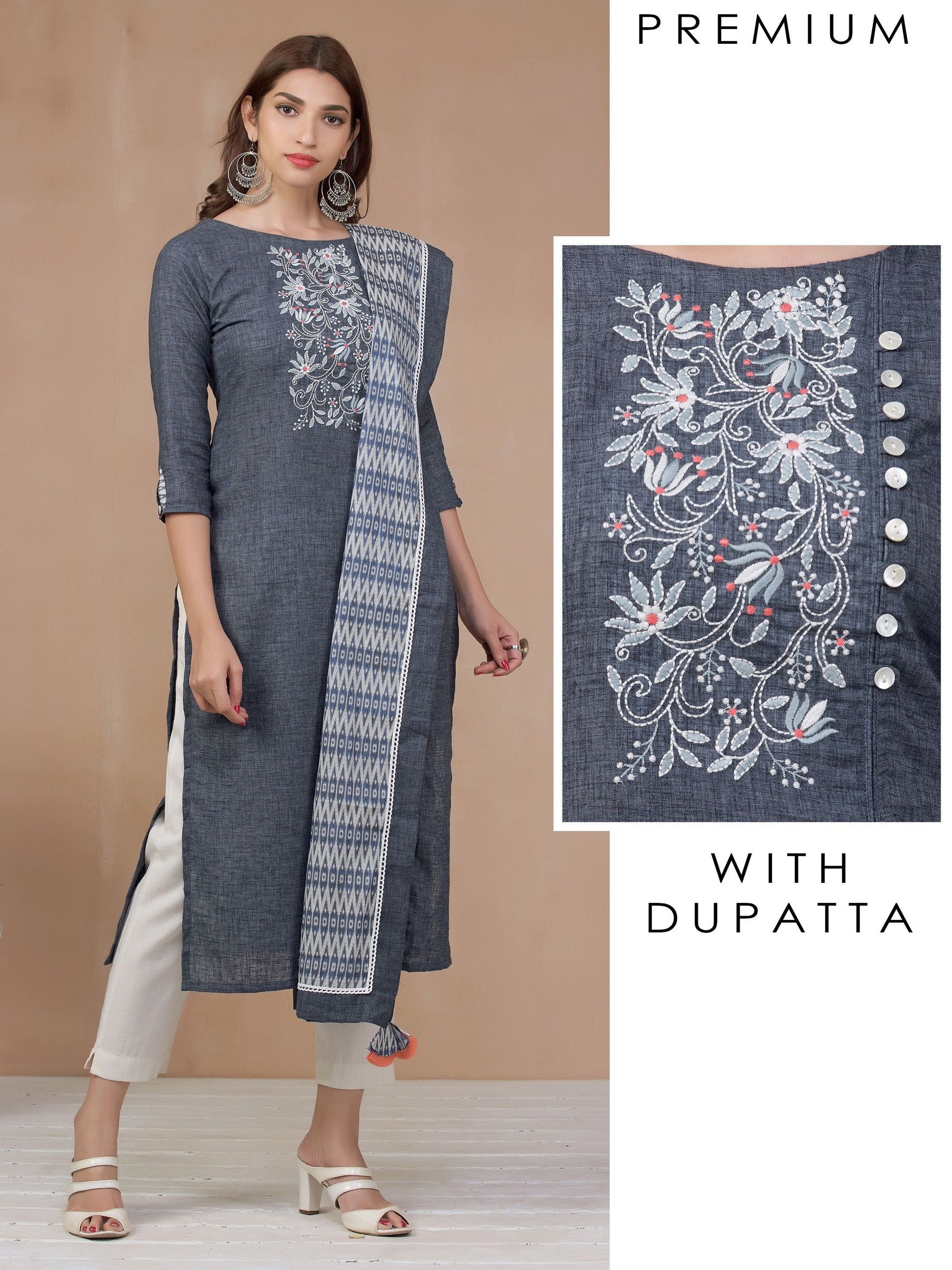Vintage Floral Embroidered Kurti with Ikkat Printed Dupatta
