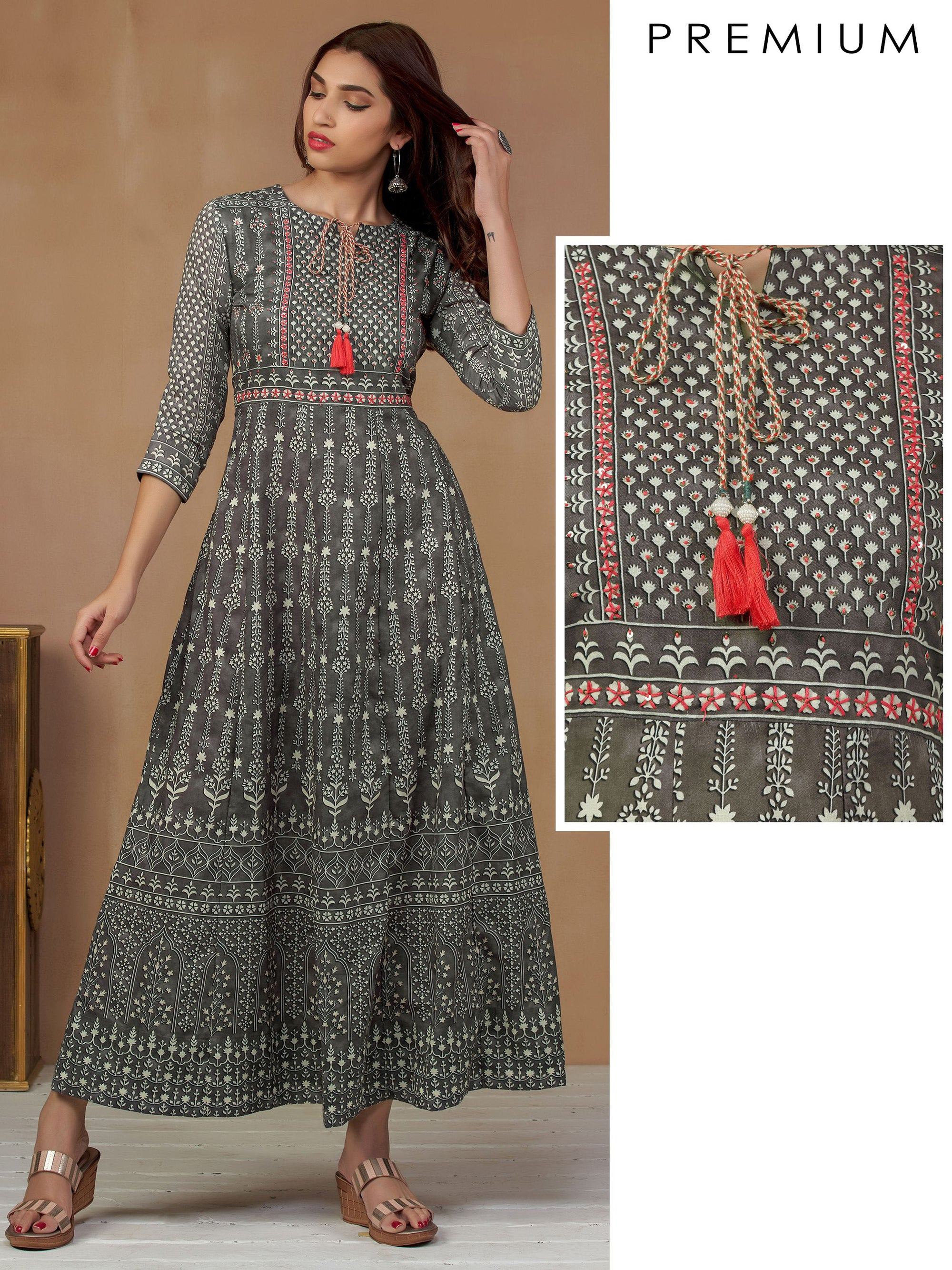 All Over Printed Flared Kurti - Grey