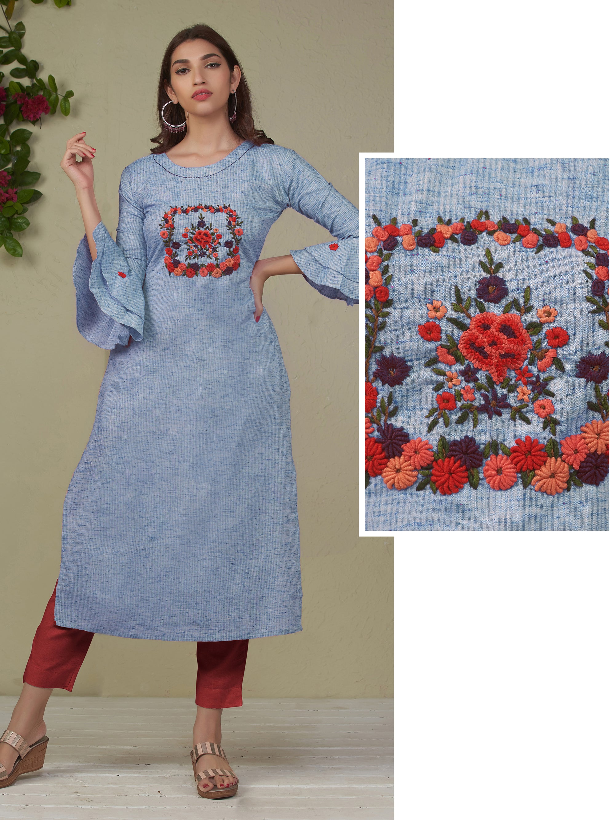 French Knot Floral Embroidered Kurti - Blue