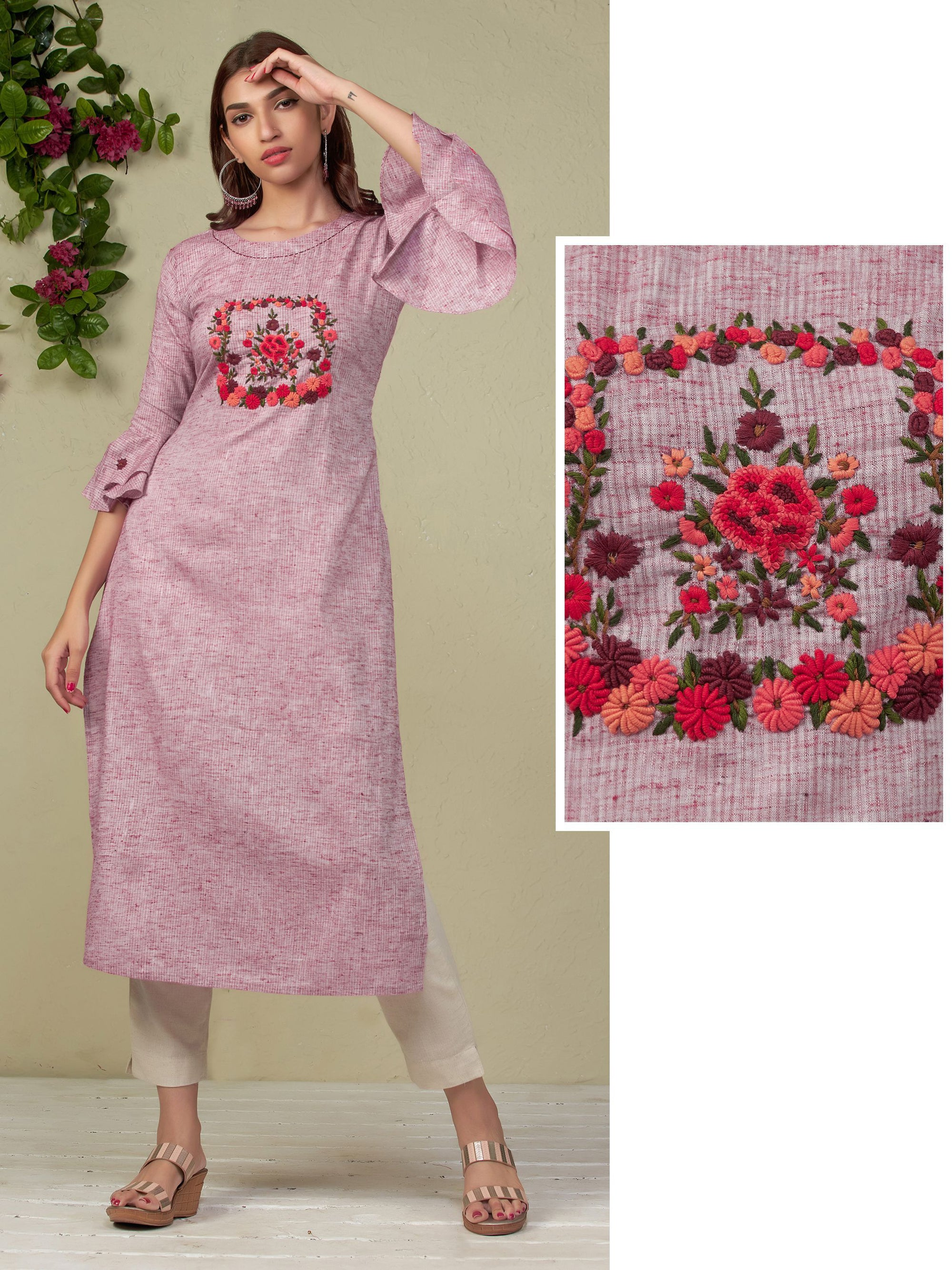 French Knot Floral Embroidered Kurti - Pink