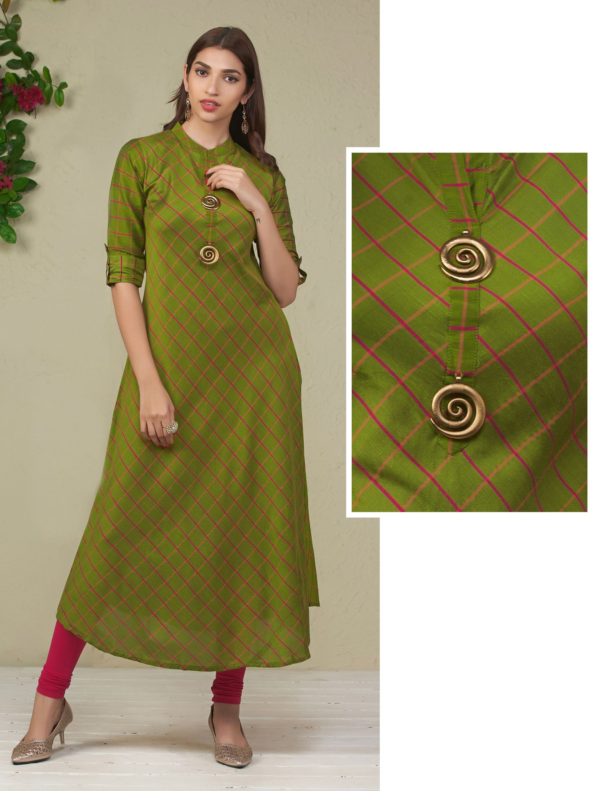 Spiral Brooch & Checkered Bias Cut Kurti – Leaf Green
