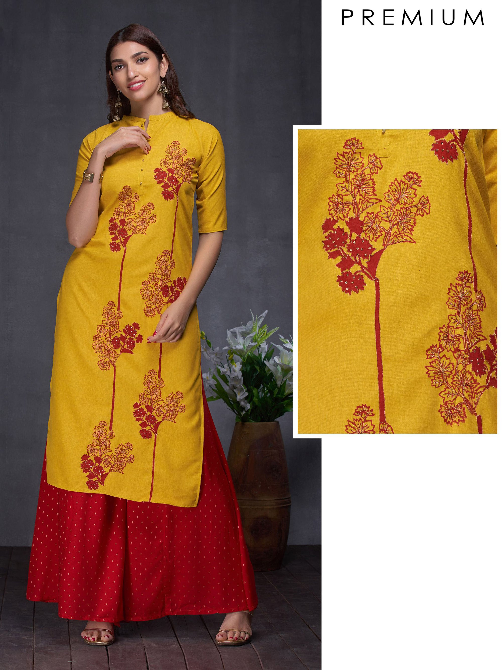 Floral Shadow Printed & Sequins Adorned Cotton Kurti