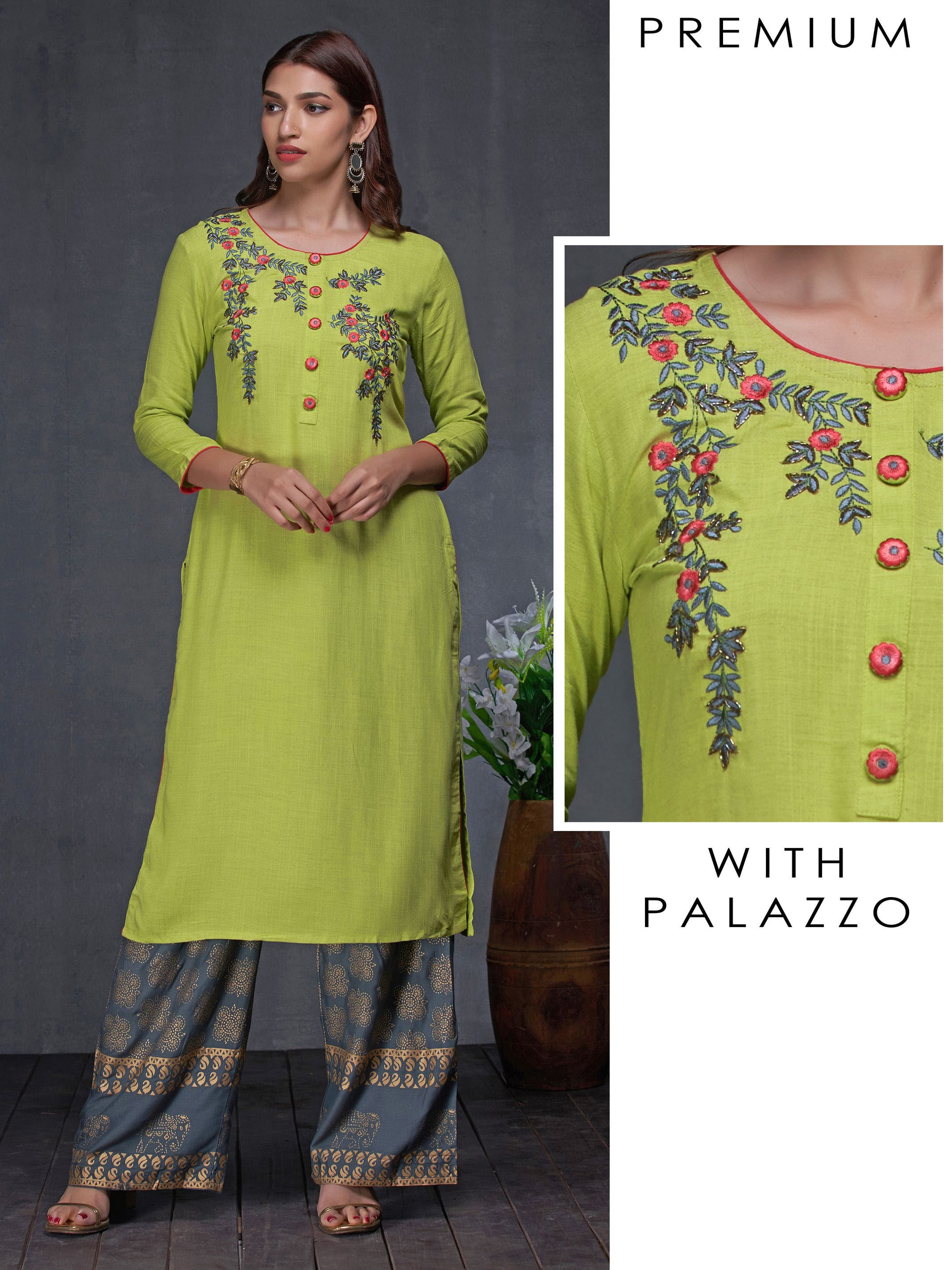 Satin Stitch Floral Embroidered Kurti & Elephant Printed Palazzo Set
