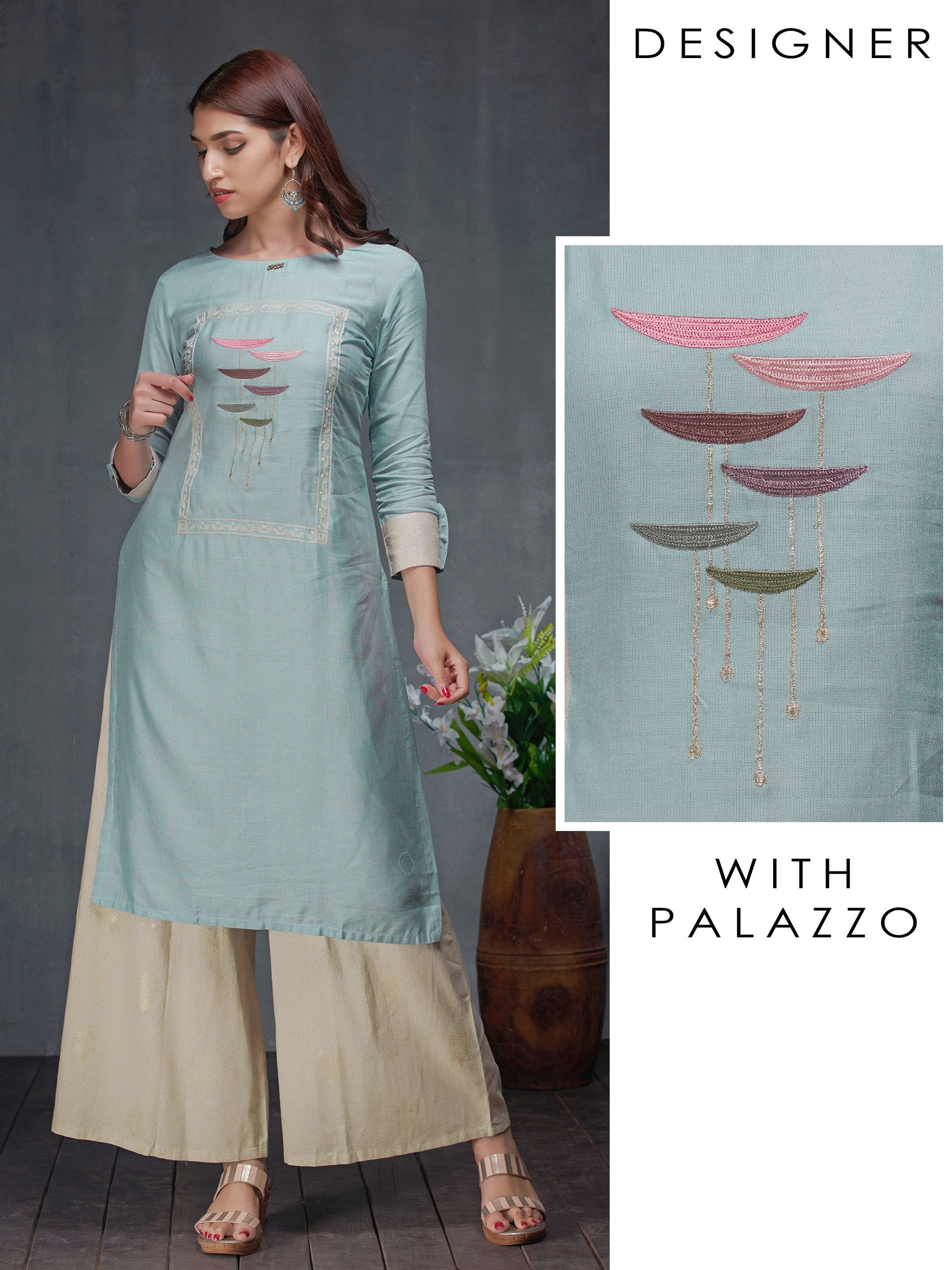 Satin Stitch Embroidered Kurti & Khari Printed Palazzo Set