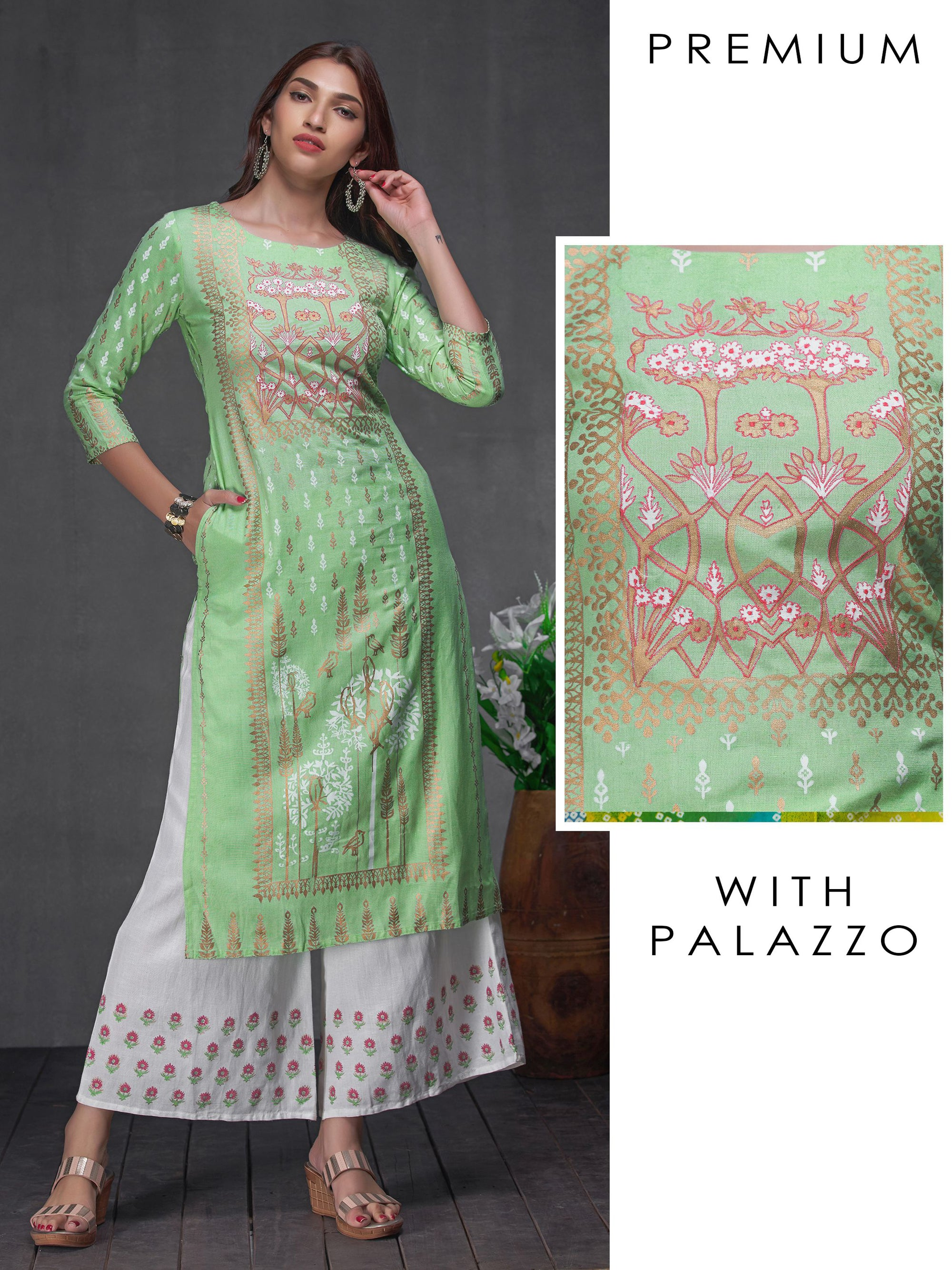 Green Khari Print Kurta With Thread Work And Floral Palazzo Set