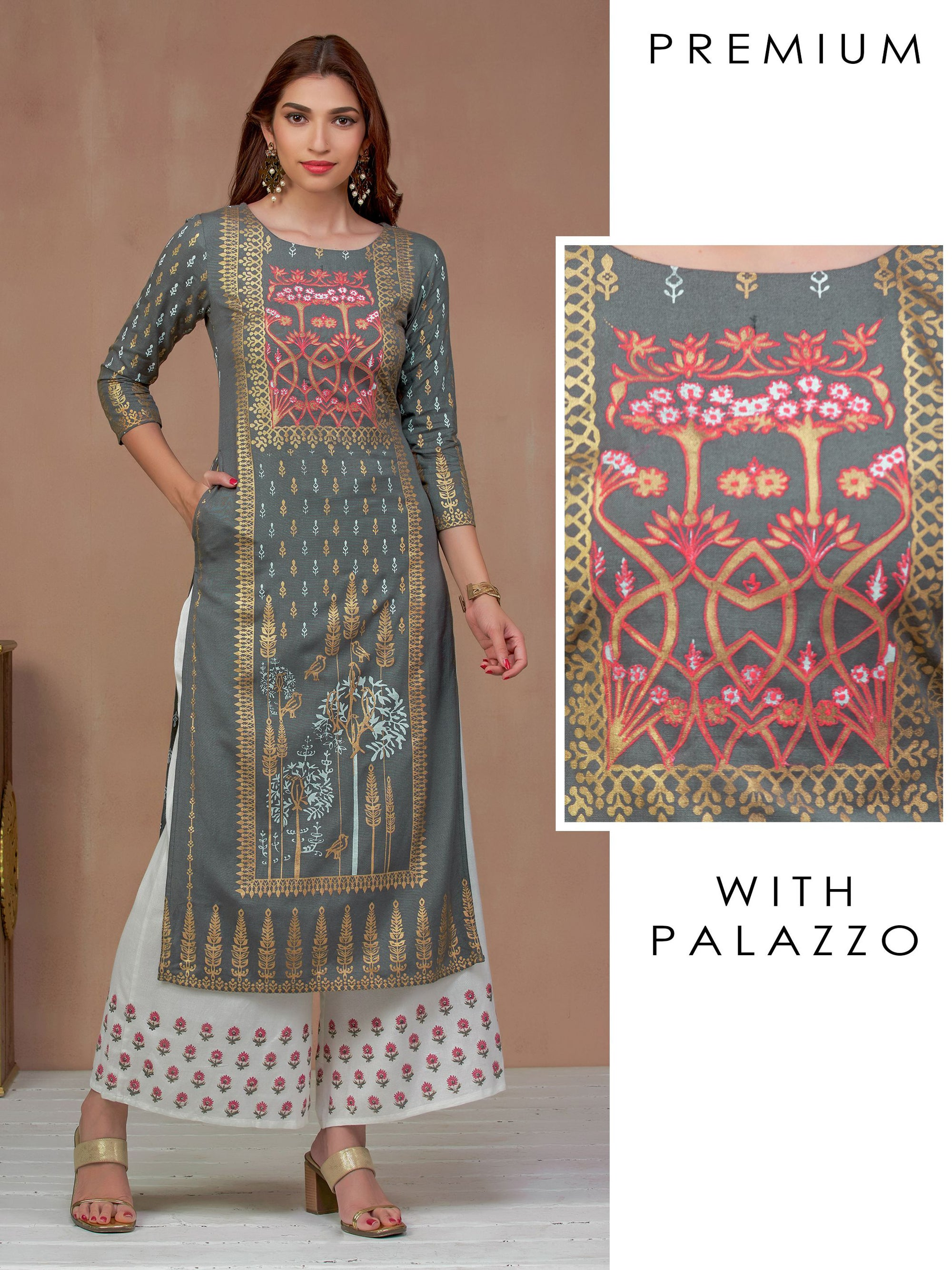 Grey Khari Print Kurta With Thread Work And Floral Palazzo Set