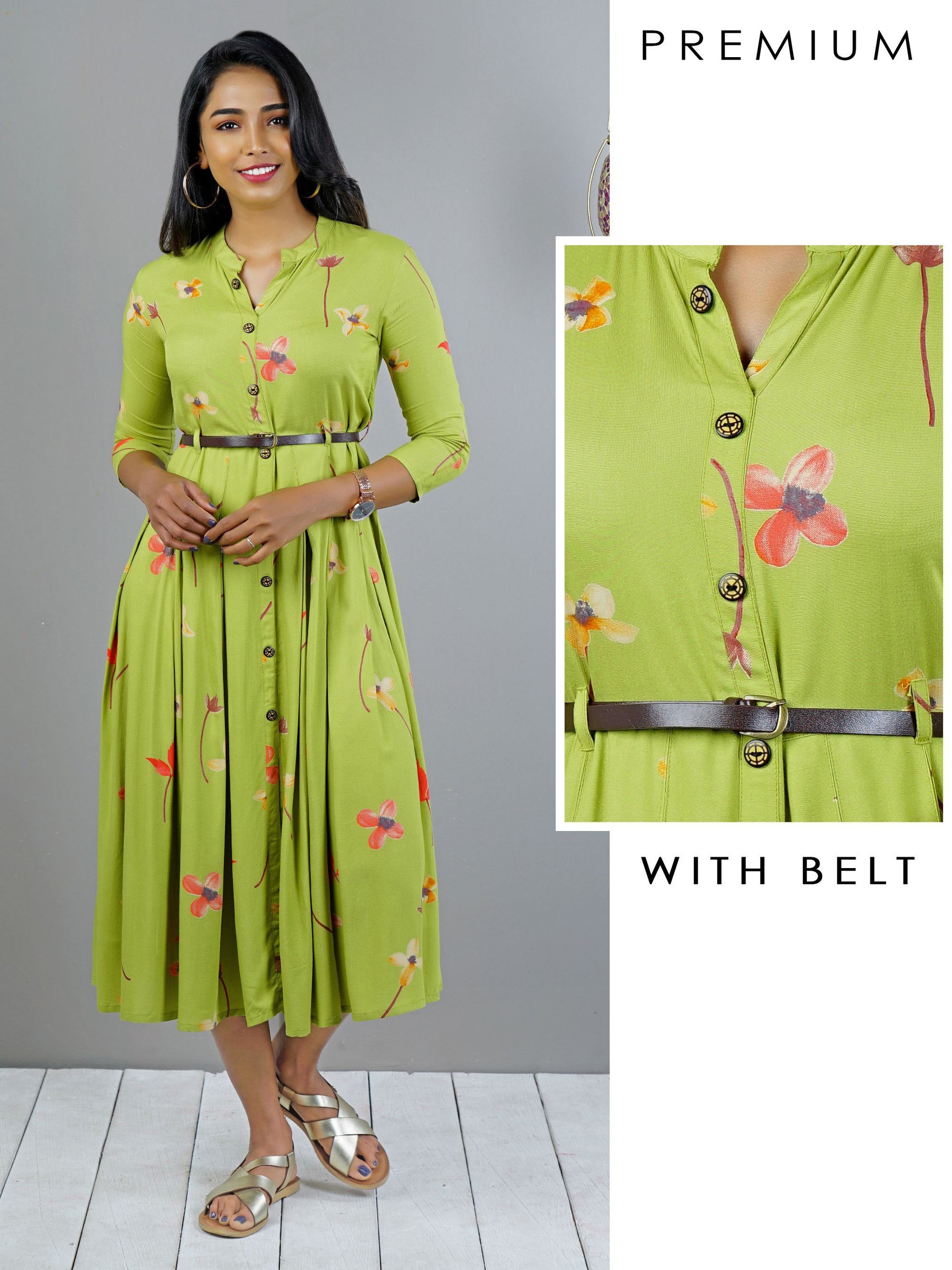 Floral Printed Flared Kurti with Belt - Lime Green