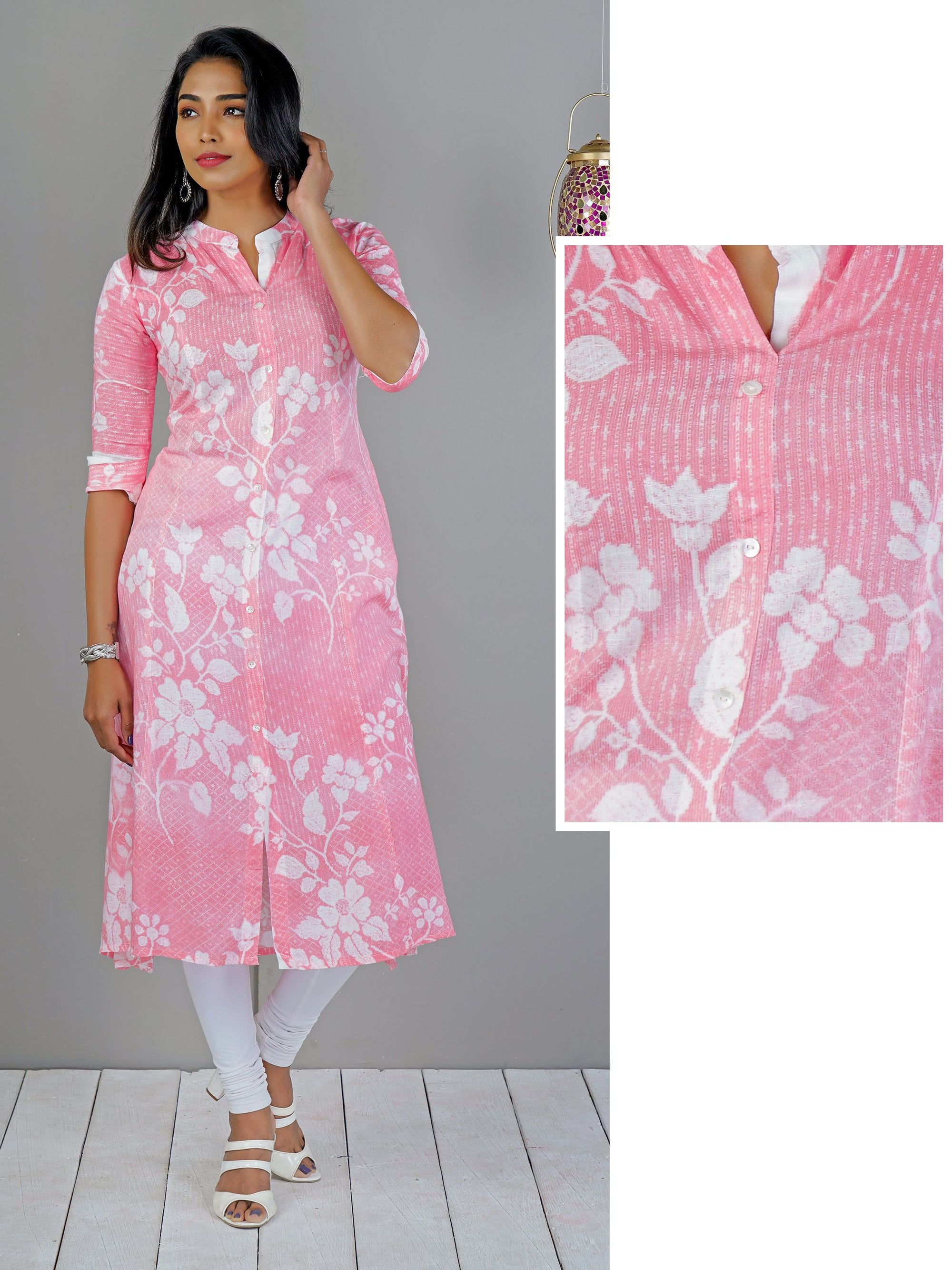 Mixed Floral Printed Panel Kurti – Candy Pink