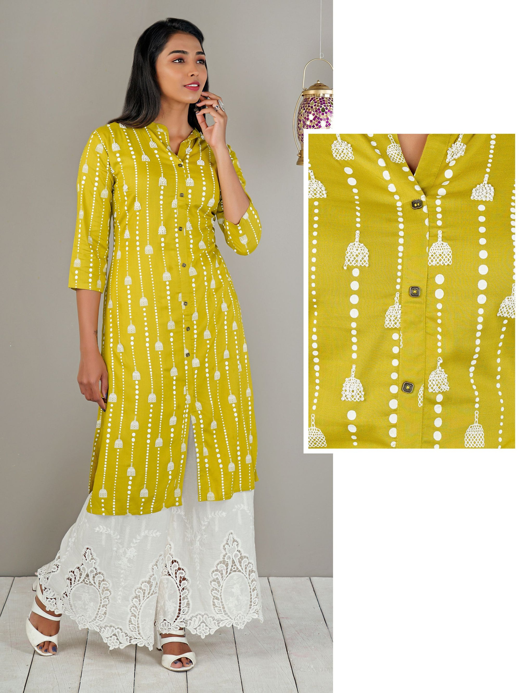 Birdcage Print With Pearl Work Cotton Green Kurti  – Green