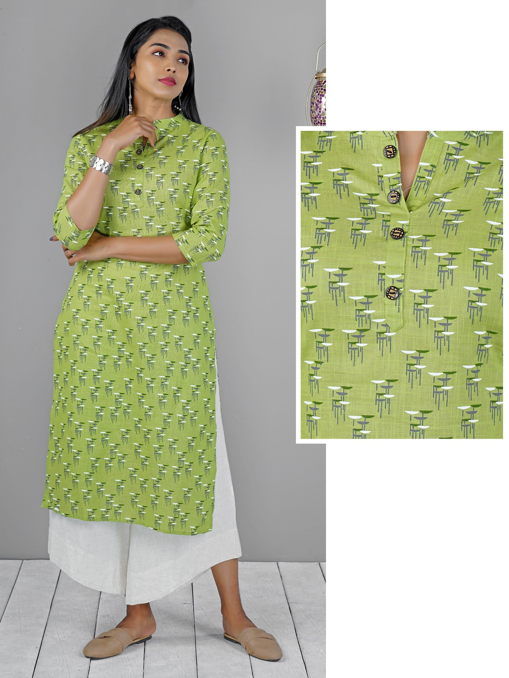Abstract Printed & Dual Tone Buttoned Kurti