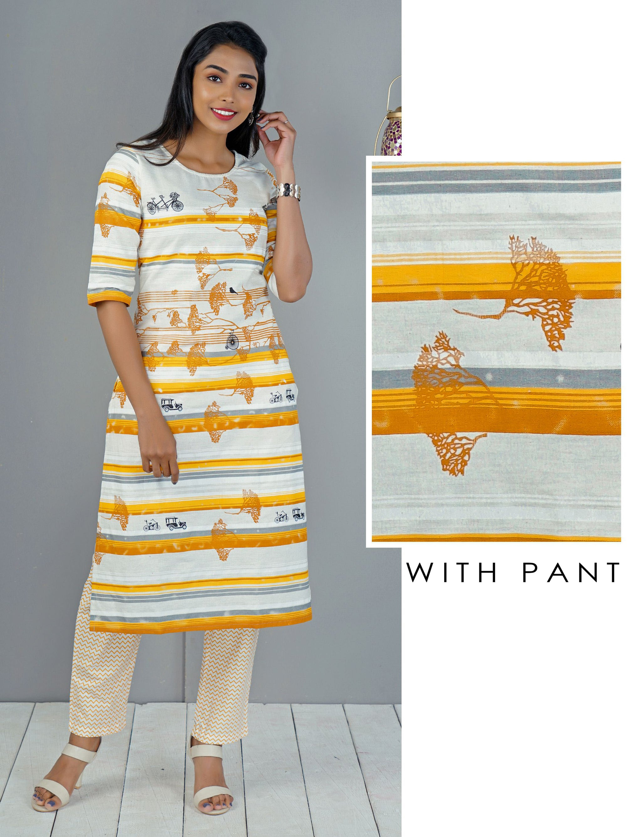 Abstract Stripes Printed Kurti & Pant Set
