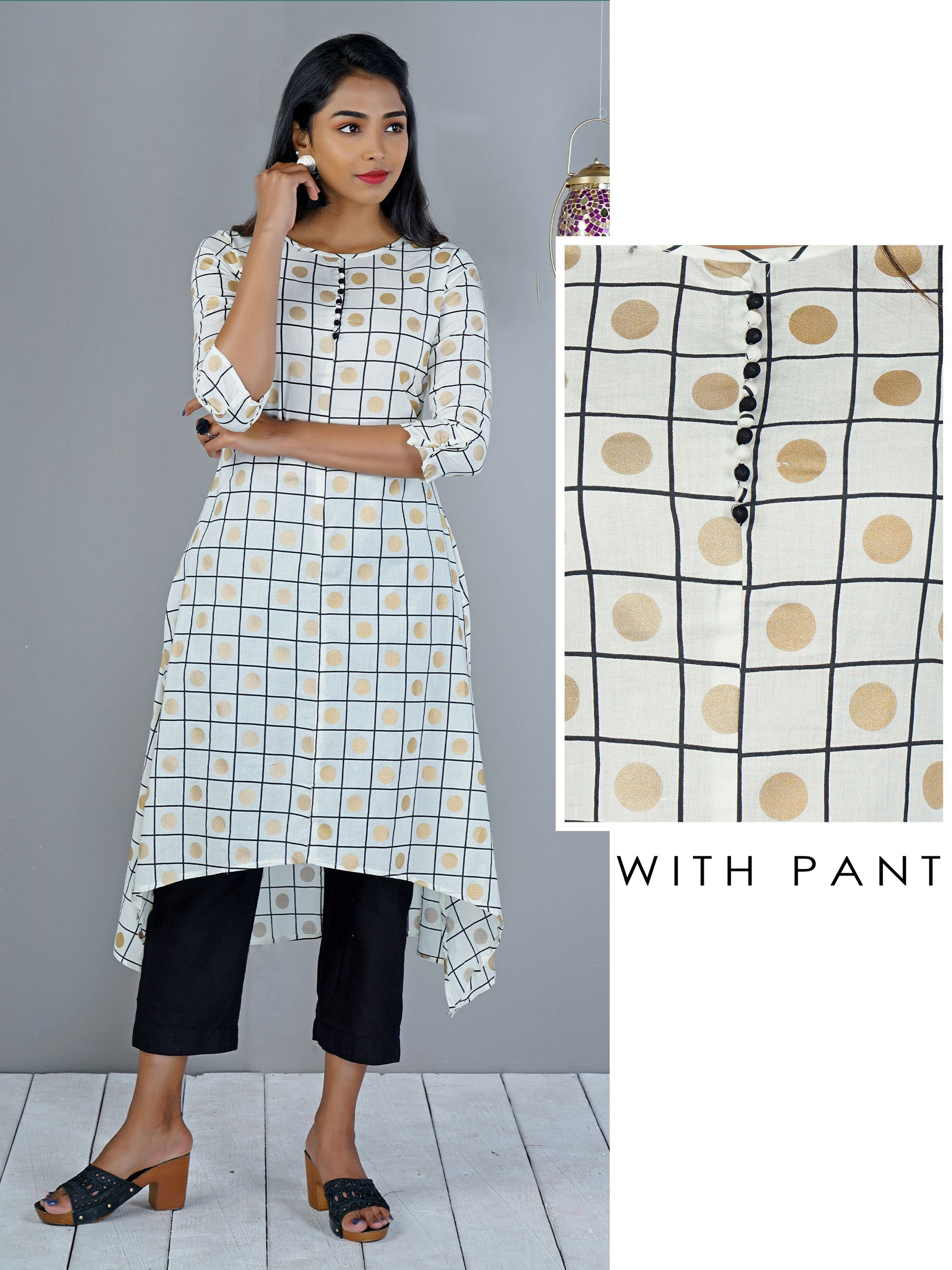 Polka & Checks Printed  Kurti Pant Set