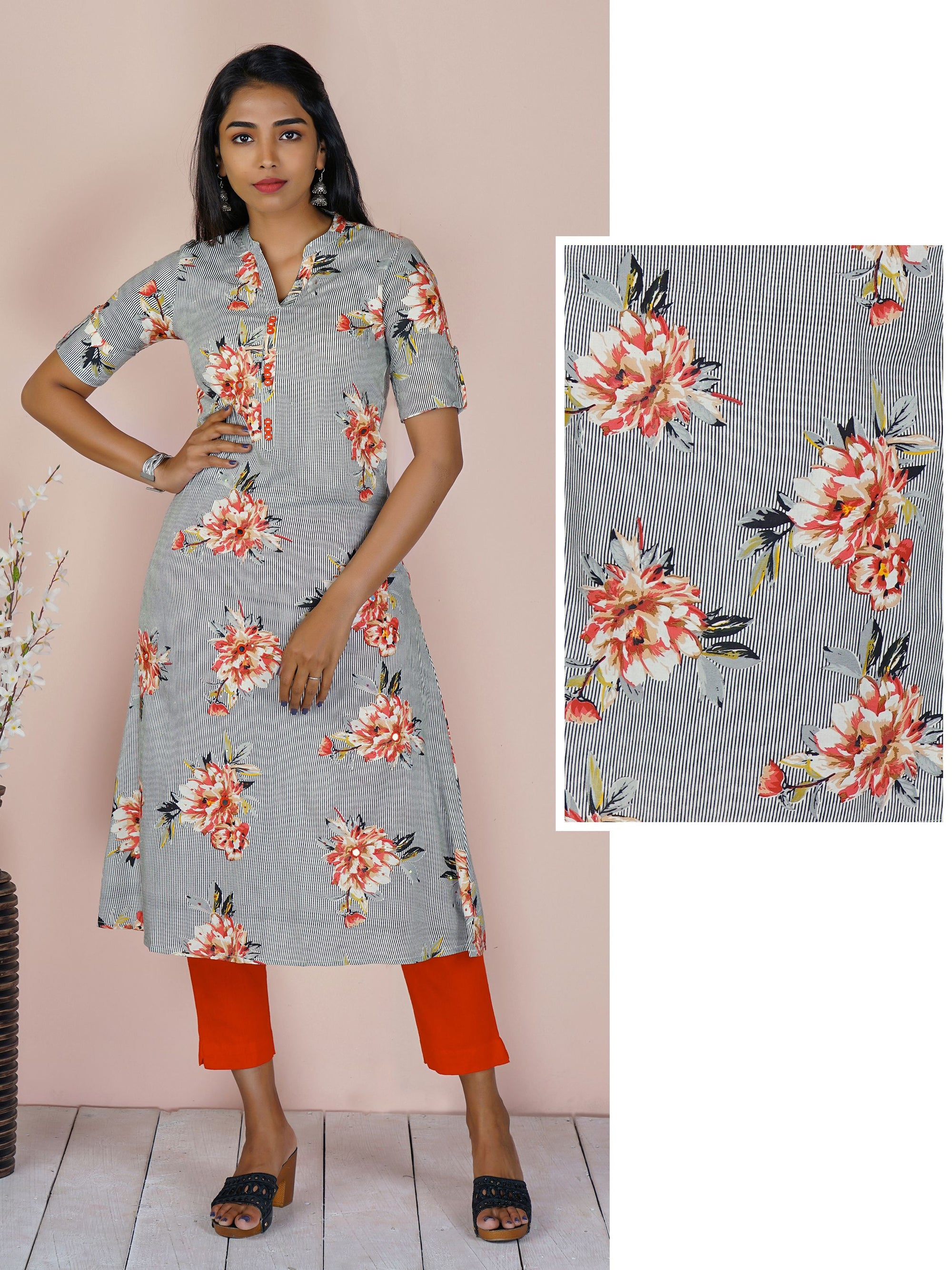 Floral Print on Fine Stripes with Mirror Detailing Kurti