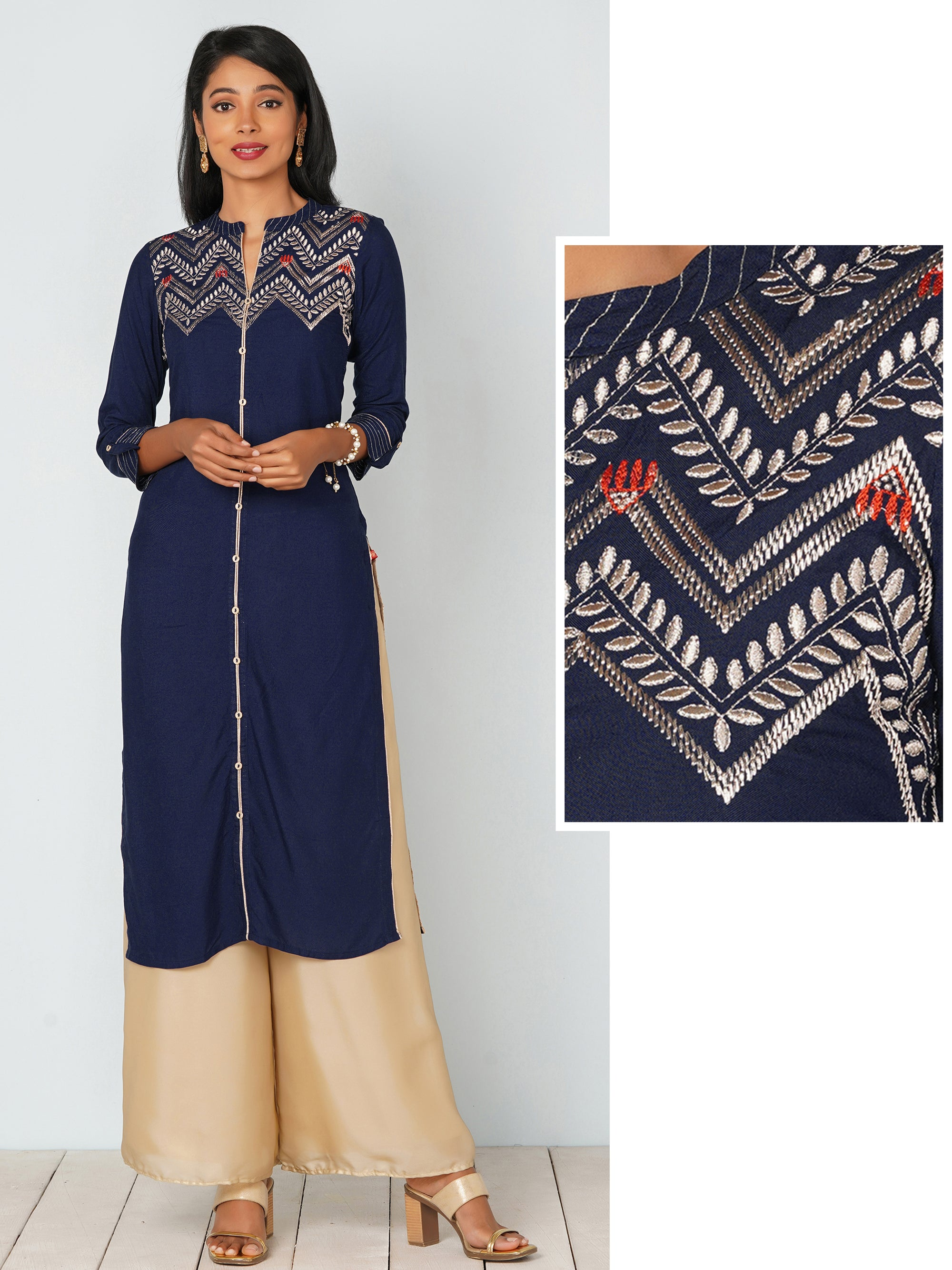 Golden Placement Embroidered Kurti - Navy