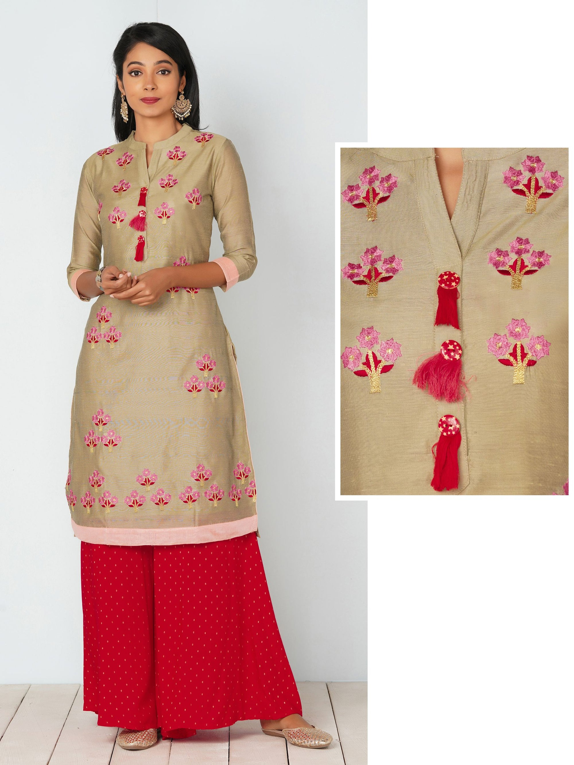 Floral Embroidery with Tassels Stone Grey Kurti