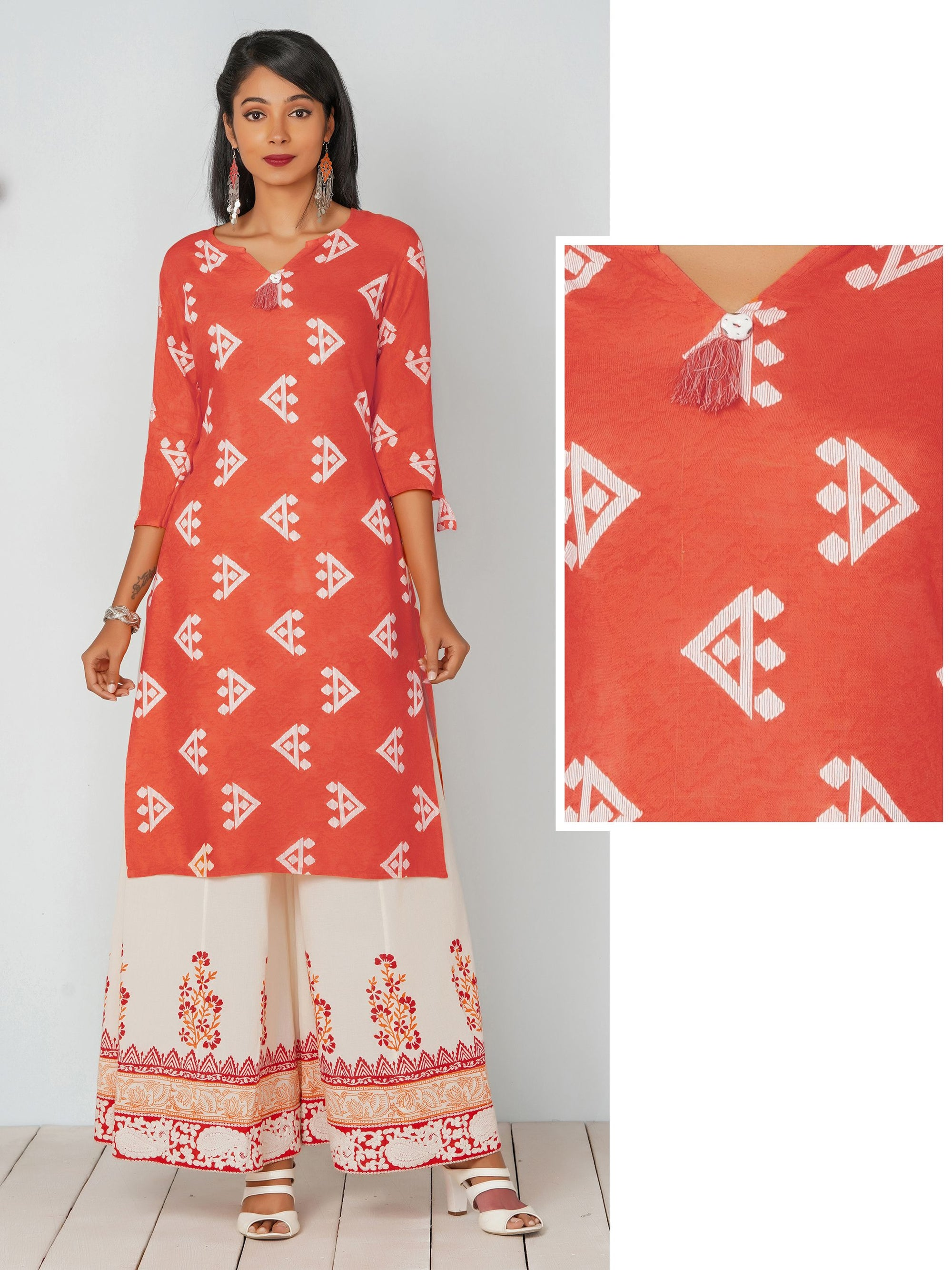 Quirky Print With Tassel Kurta - Orange