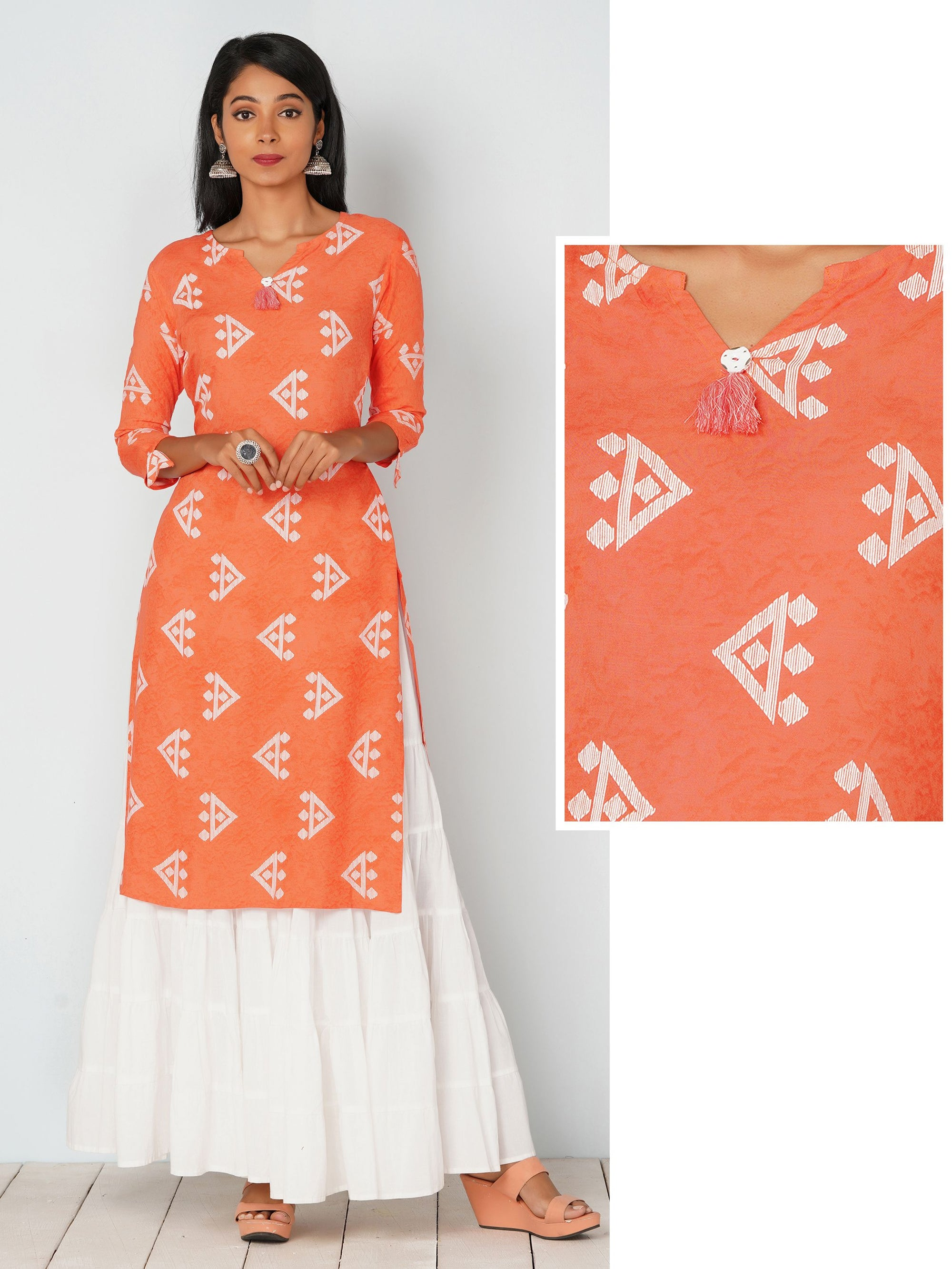 Quirky Print With Tassel Kurta - Peach