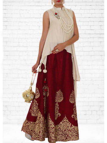 Cream Jacquard, Maroon Chanderi Silk Crop Top & Skirt Set