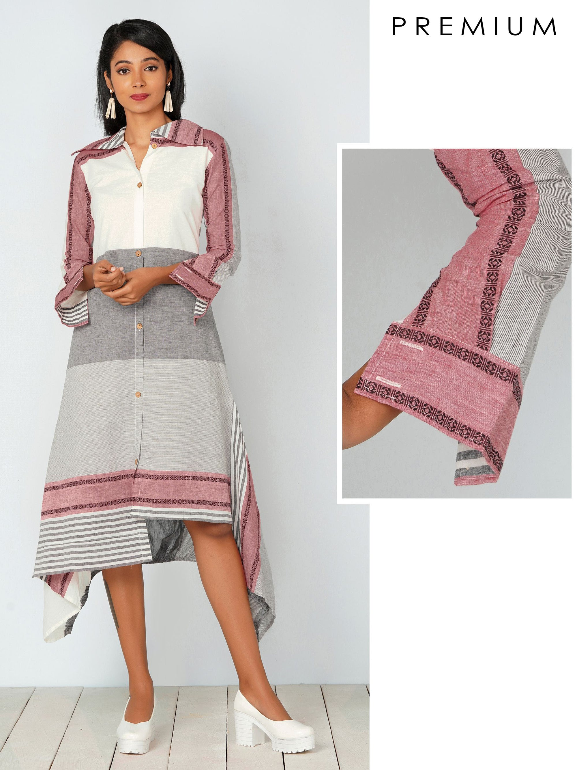 Solid Striped & HandKerchief Hemline Kurti