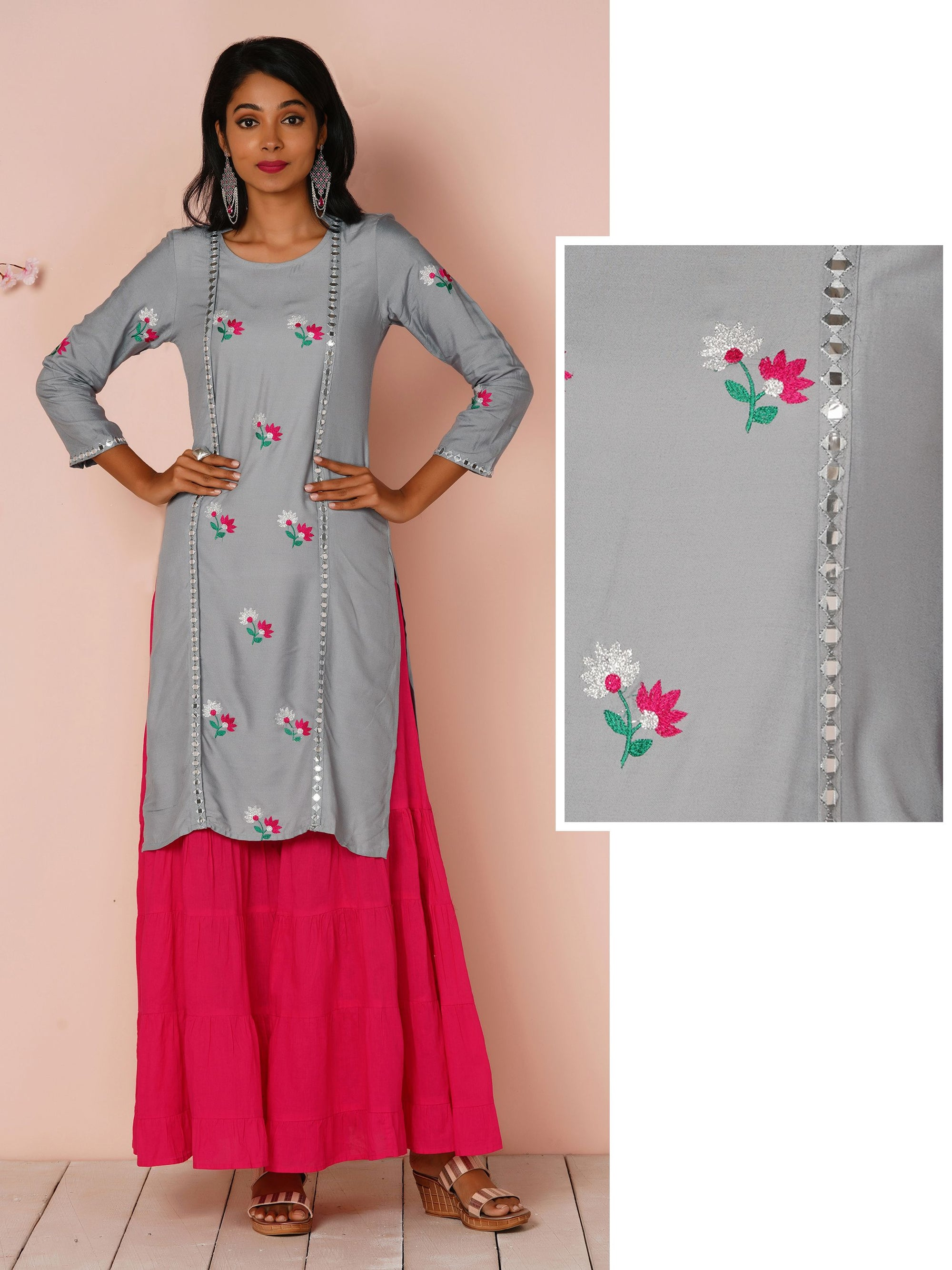 Mirror Work With Floral Embroidery Grey Kurta