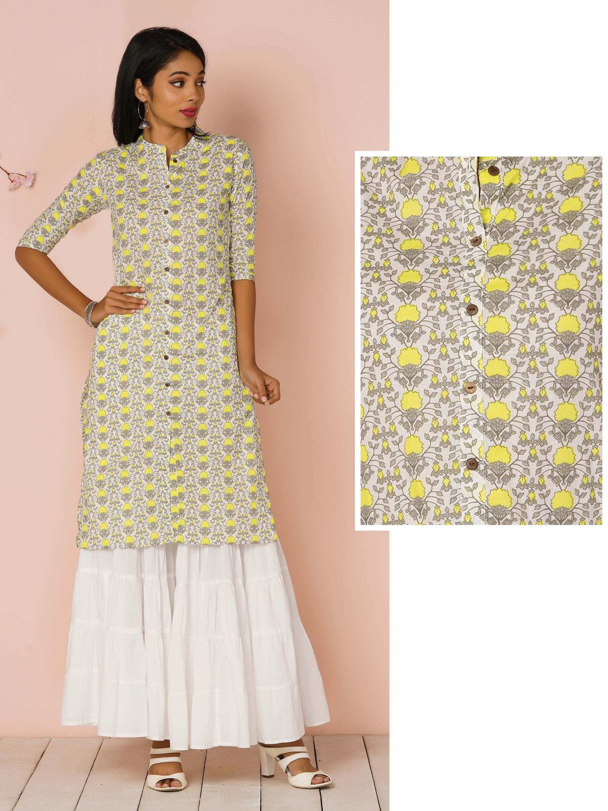 Floral Embroidered Coconut Shell Buttoned Cotton Kurti