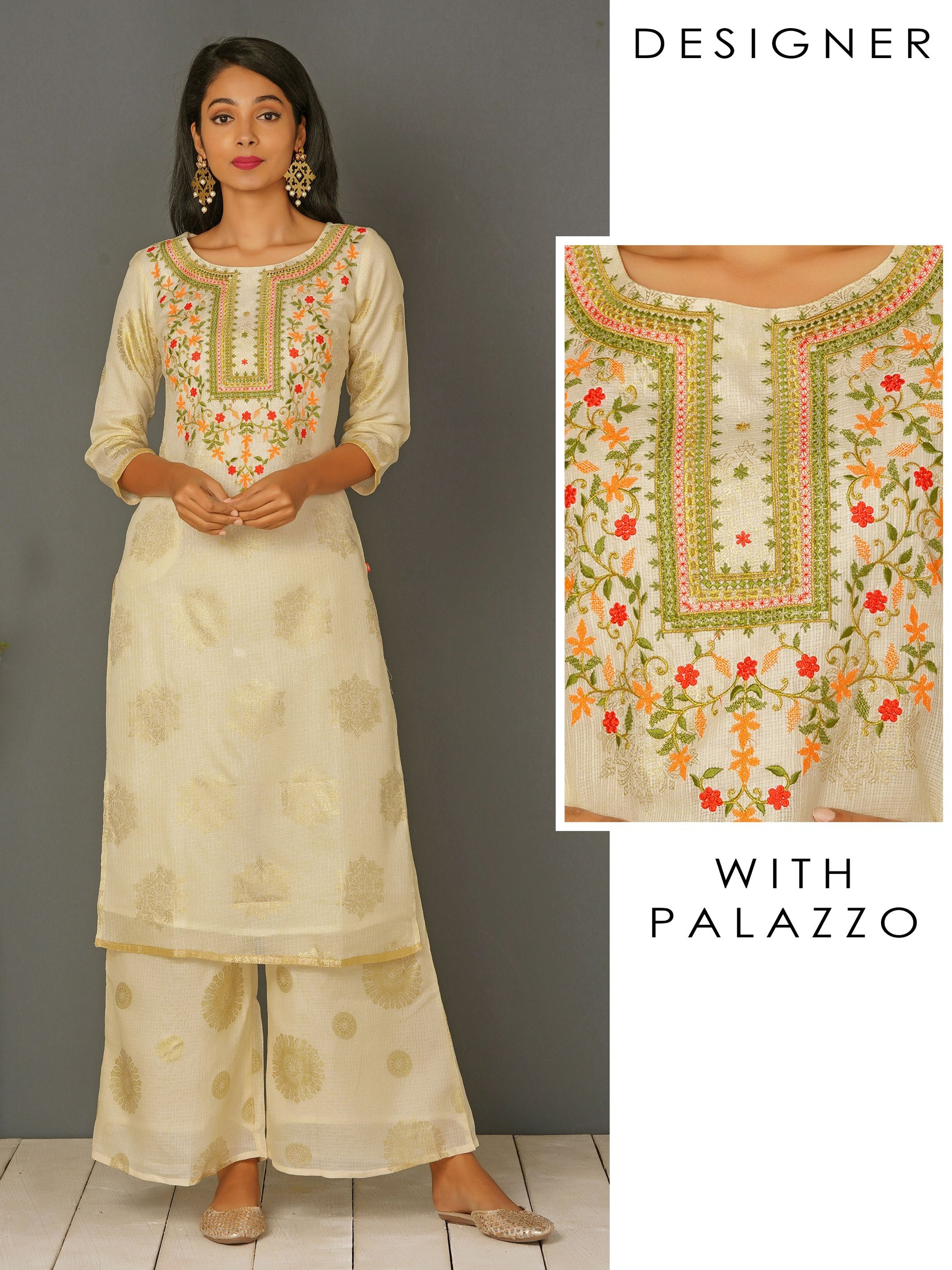 Elegant Khari Printed & Embroidered Kurti & Palazzo Set