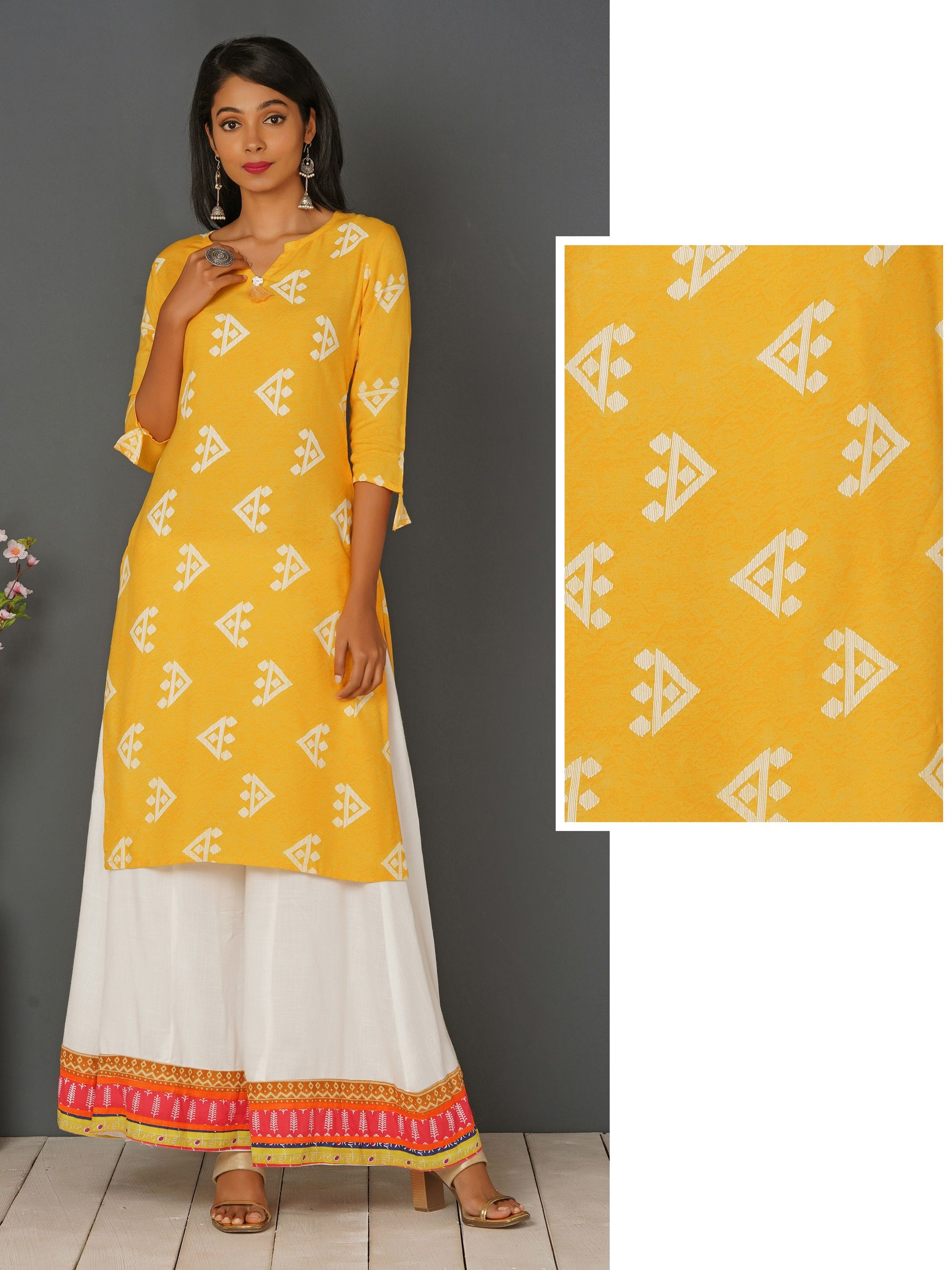 Quirky Print With Tassel Kurta - Yellow