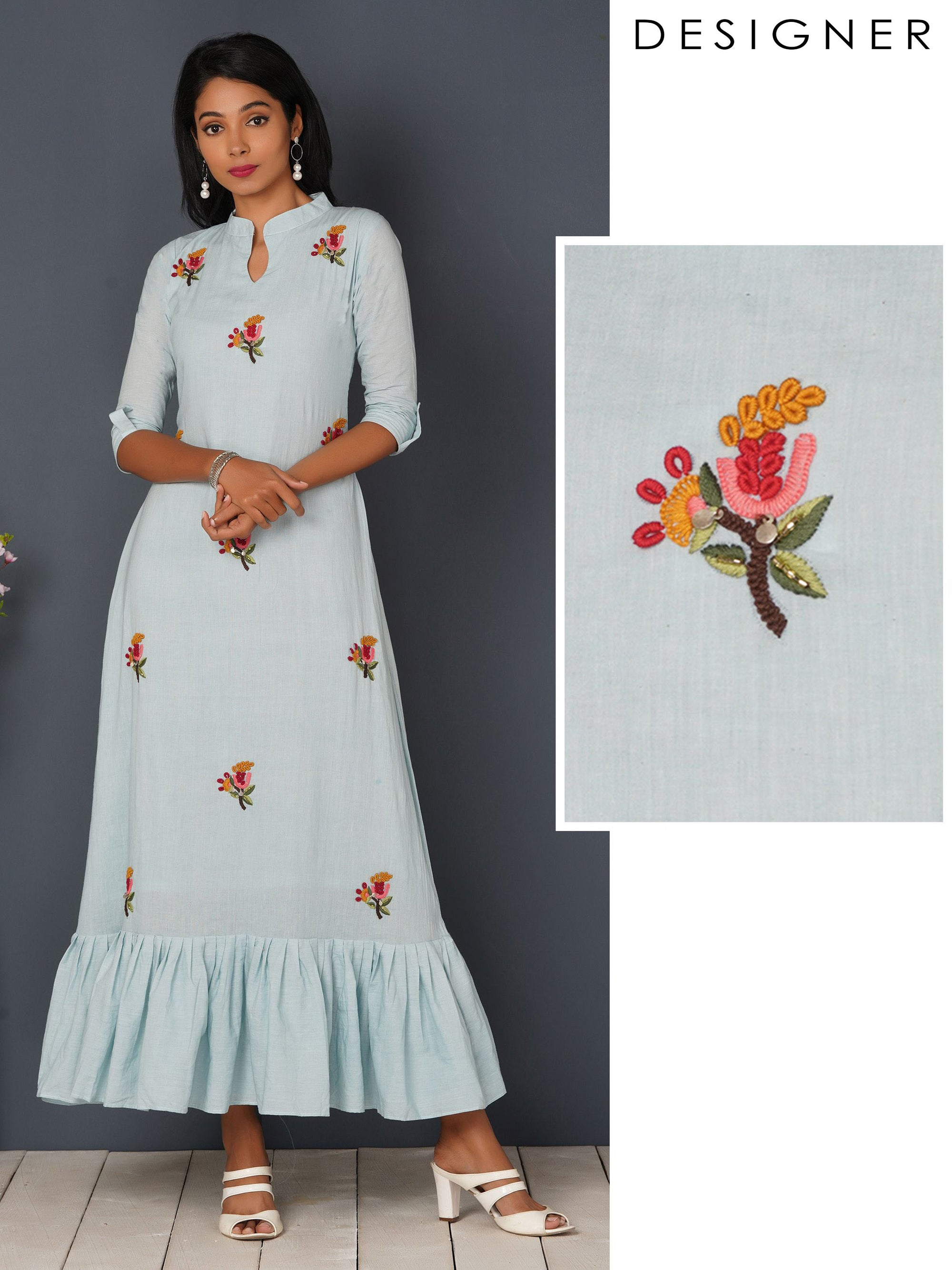 Bullion Knot Embroidered & Gathered Maxi - Powder Blue