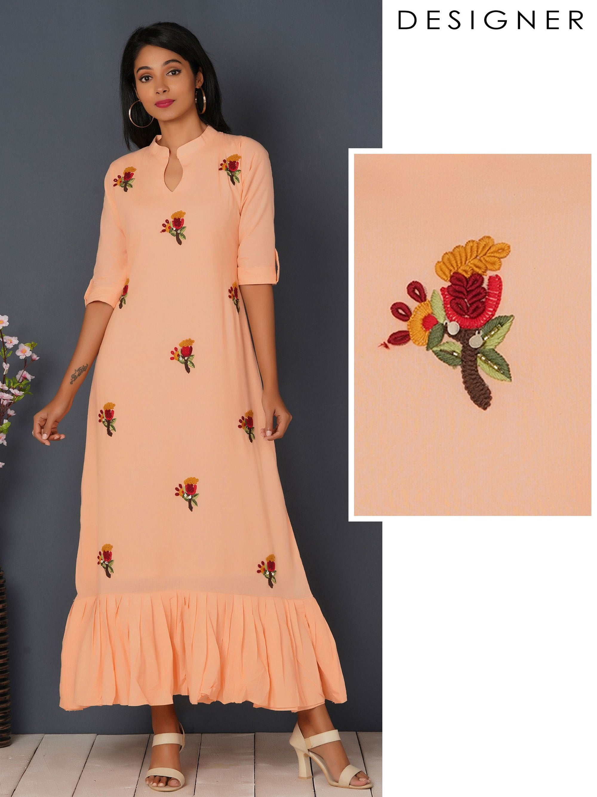 Bullion Knot Embroidered & Gathered Maxi - Peach