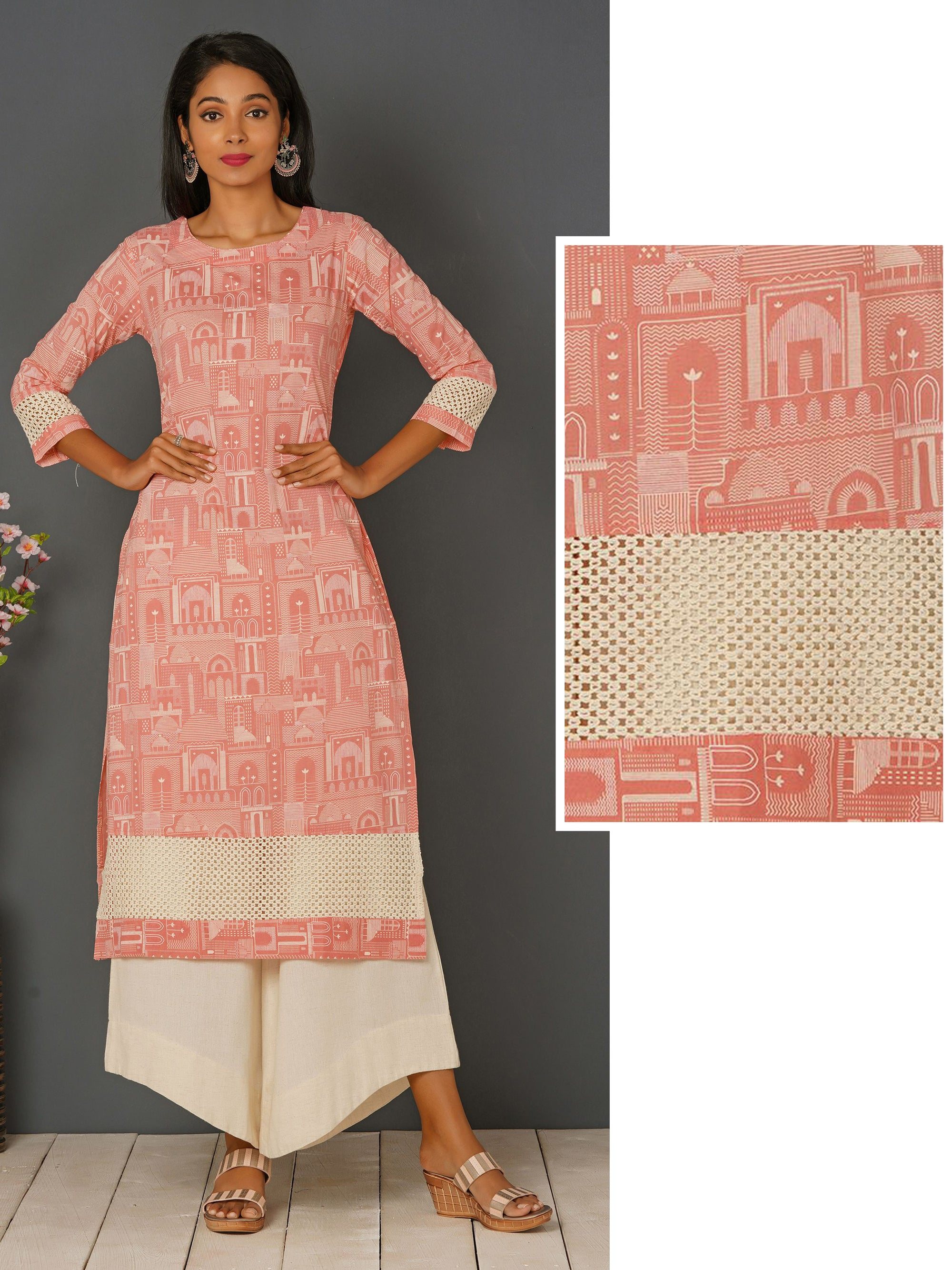 Abstract Architecture Pattern Printed & Crochet Work Kurta