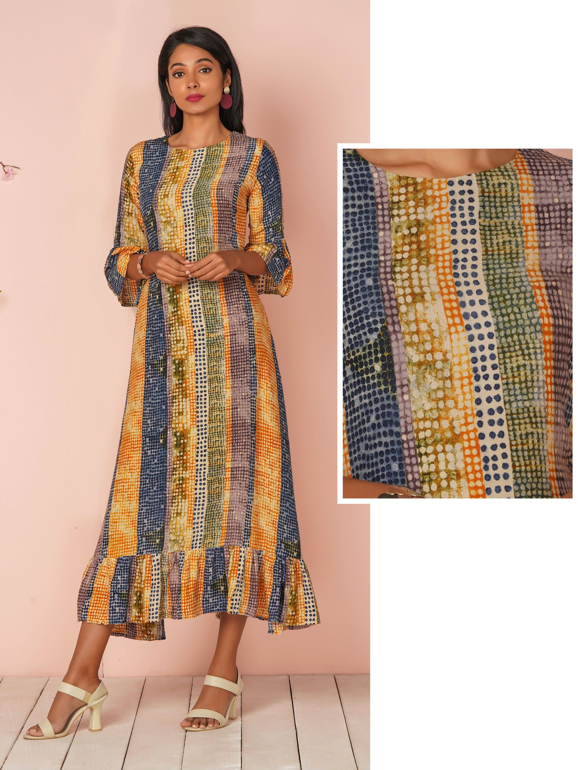 Abstract Vertical Dot Printed Kurti