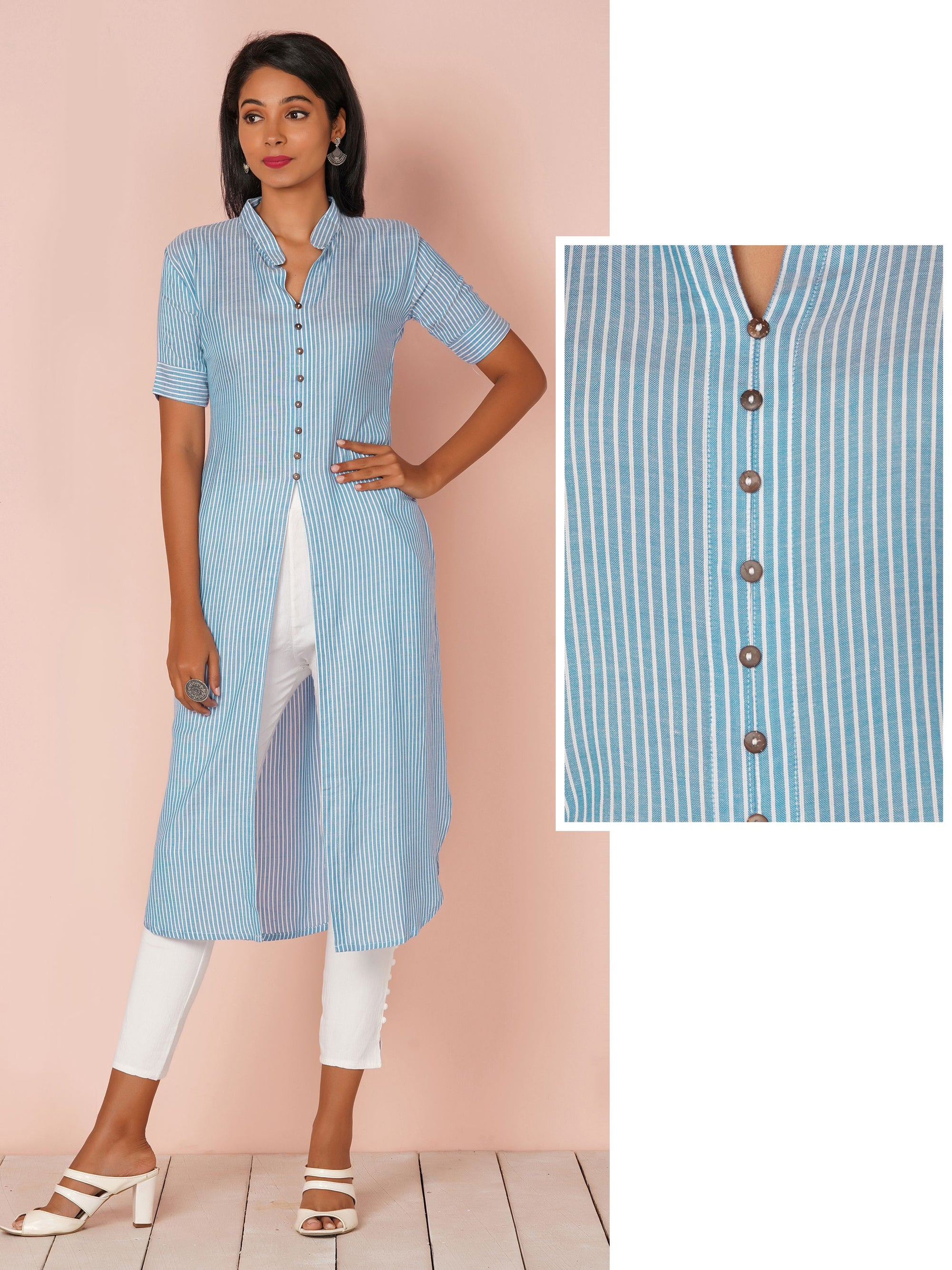 Trendy Bengal Striped High Slit Kurta