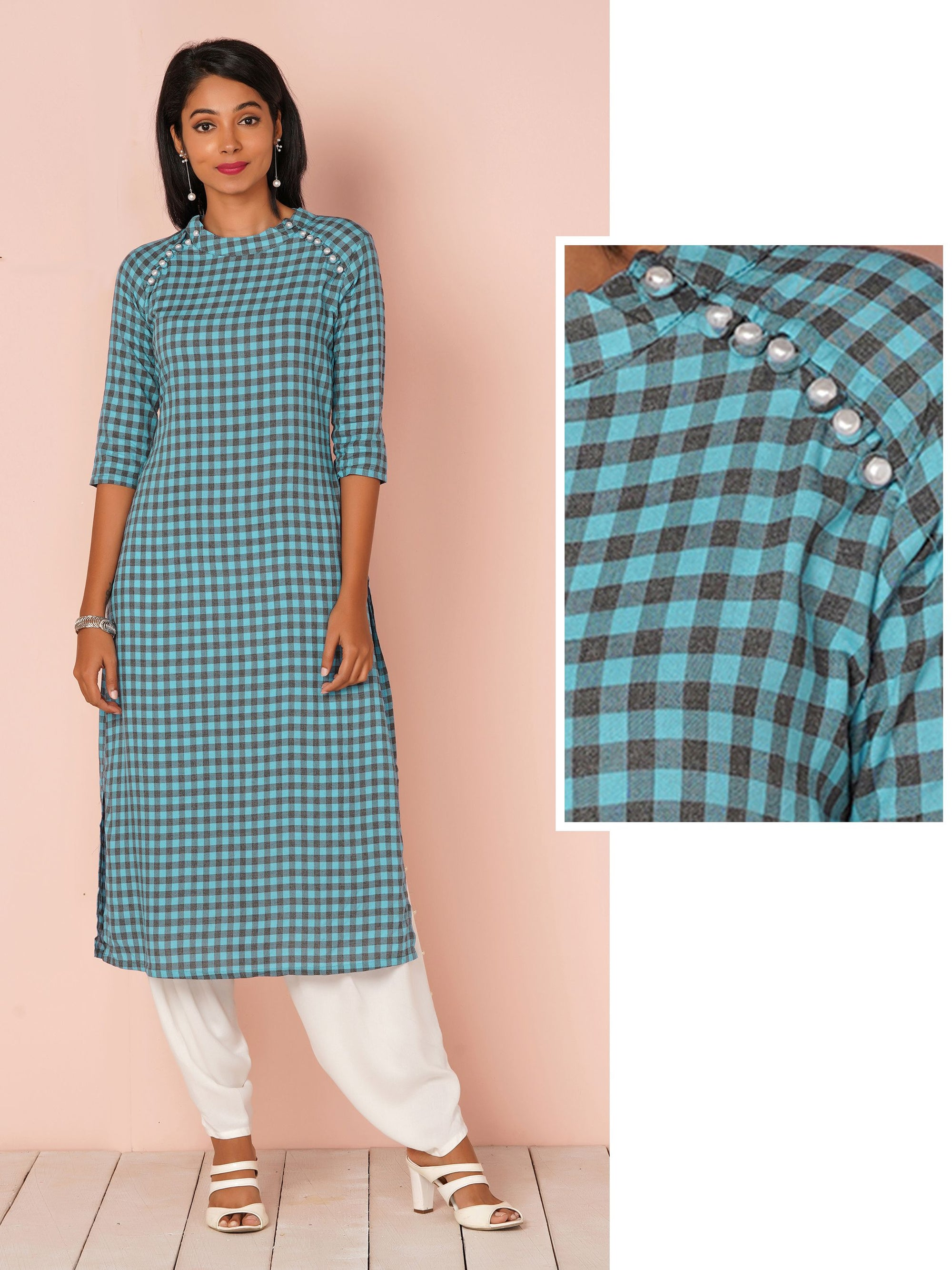 Gingham Checks with Mother of Pearl Buttons Kurta