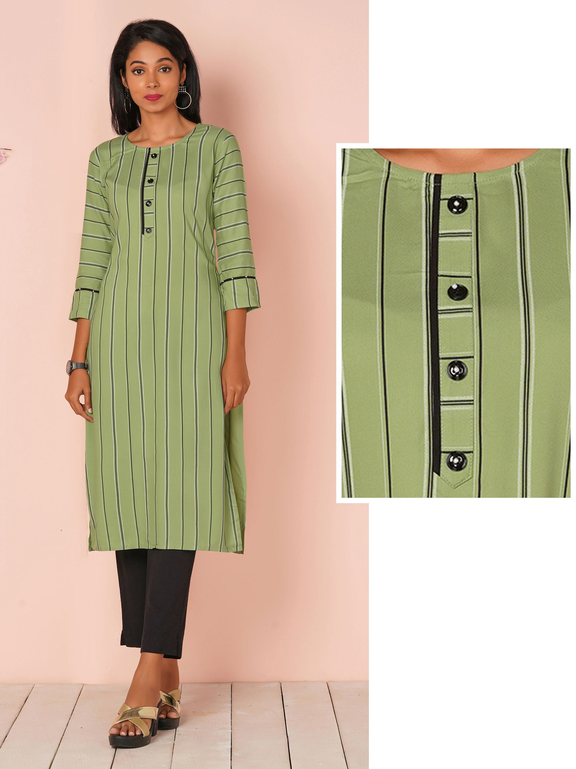 Minimal Striped Casual Kurti - Pistachio Green