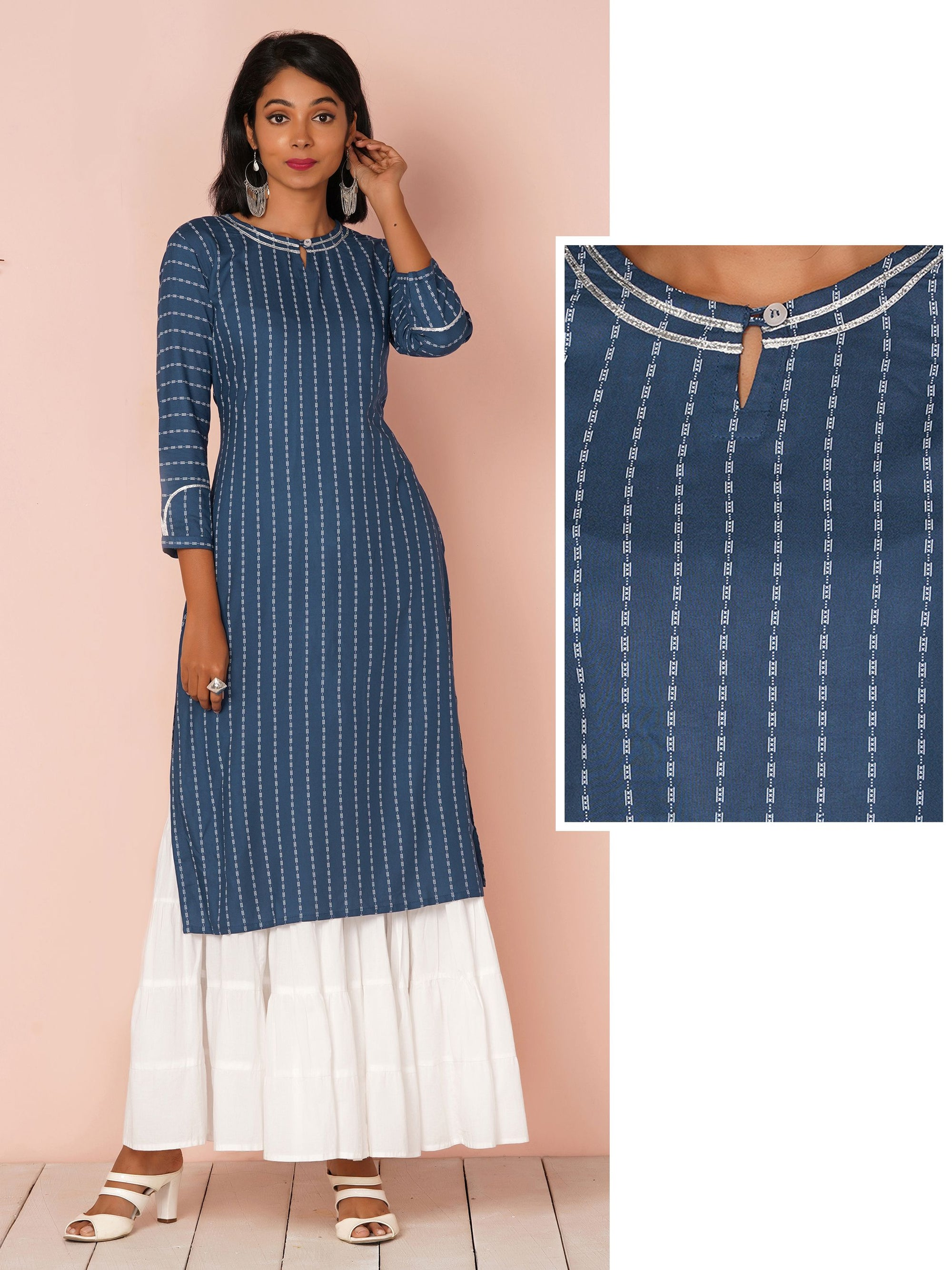 Quirky Striped Print With Gota Lace Border Kurta - Blue