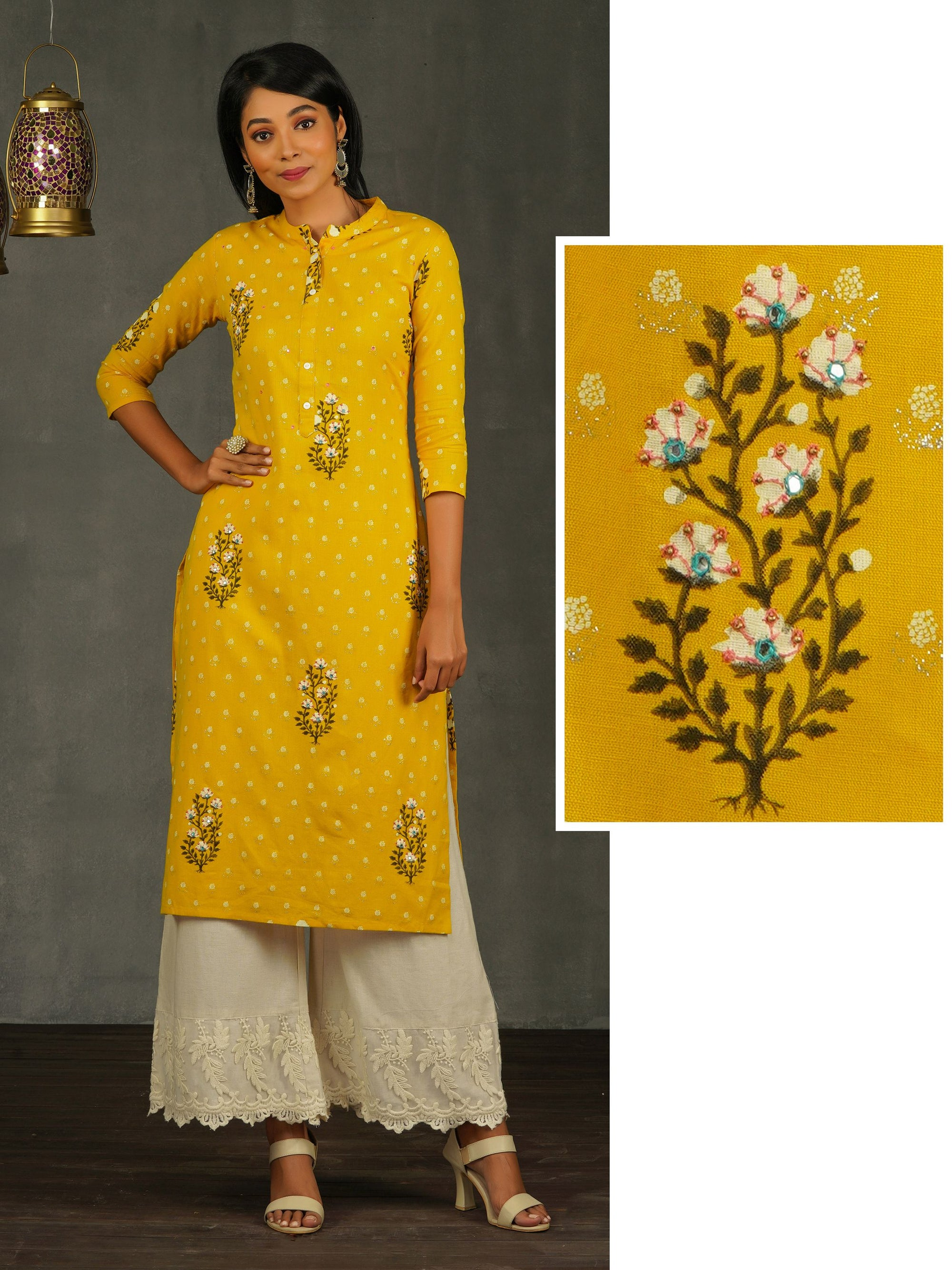 Hand Block Floral Printed Kurti with Bead Embellishment – Yellow