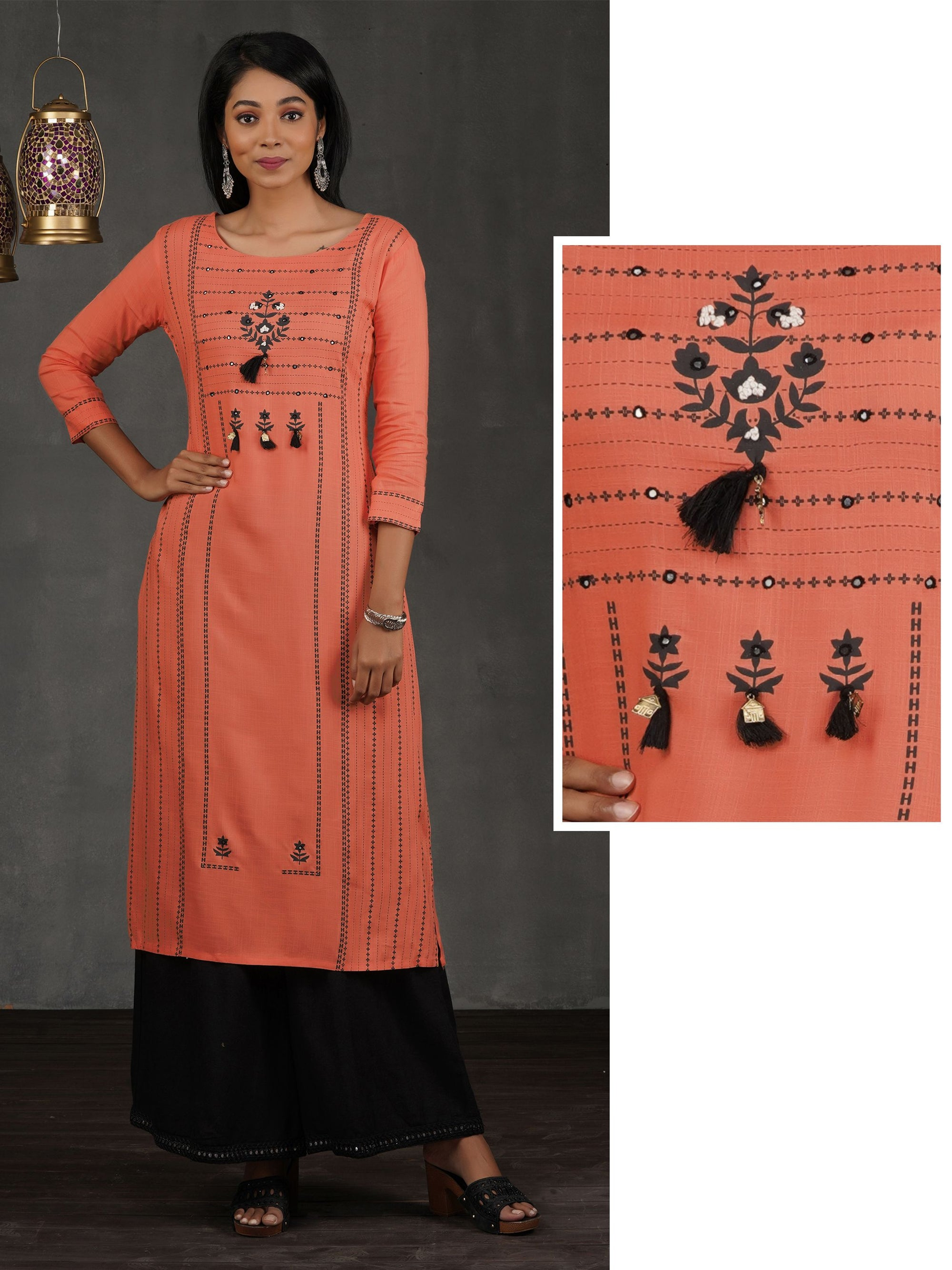 Floral & Chalk Striped Printed Kurti – Orange