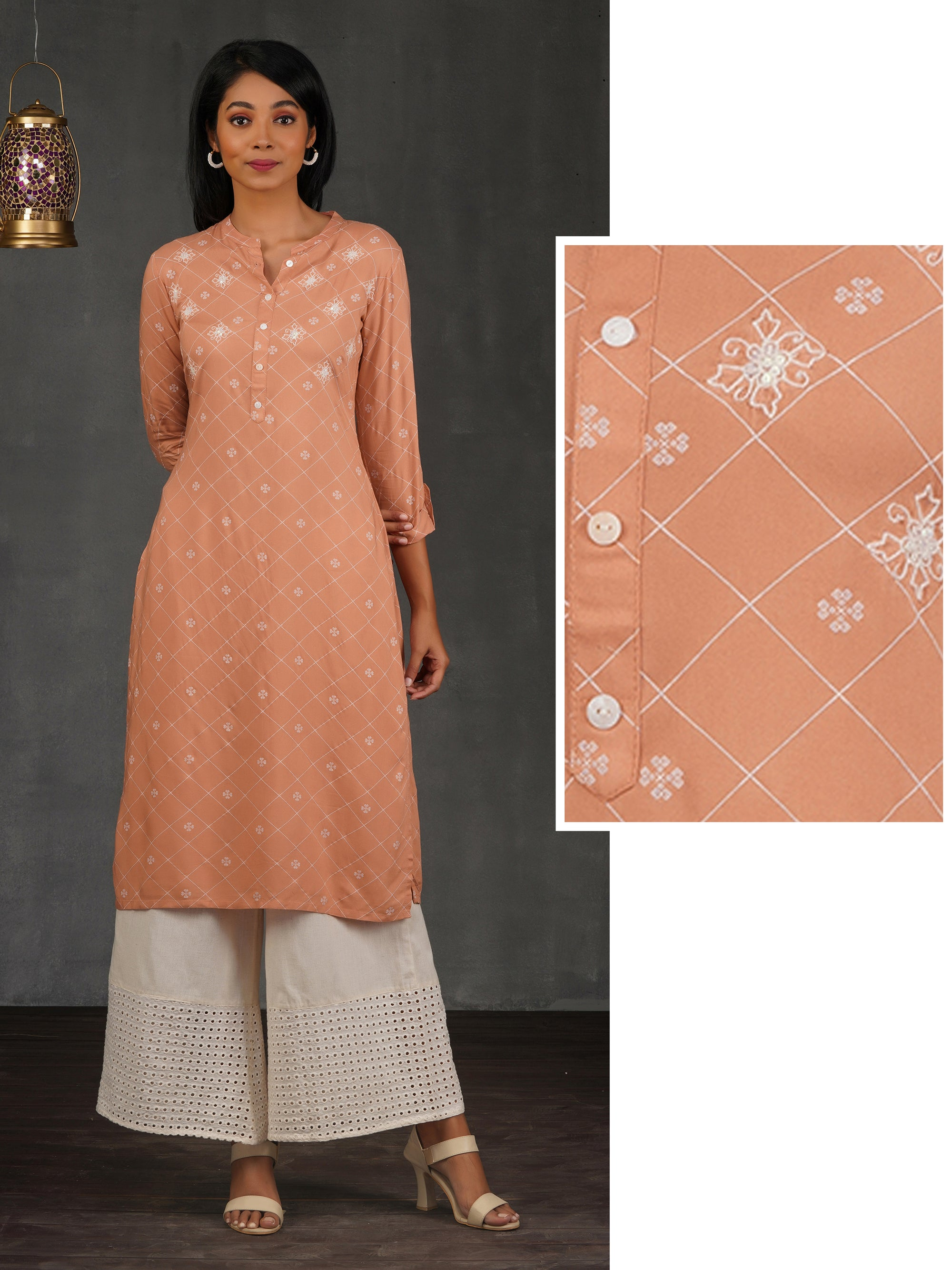 Chain Embroidered & Diamond Checkered Kurti