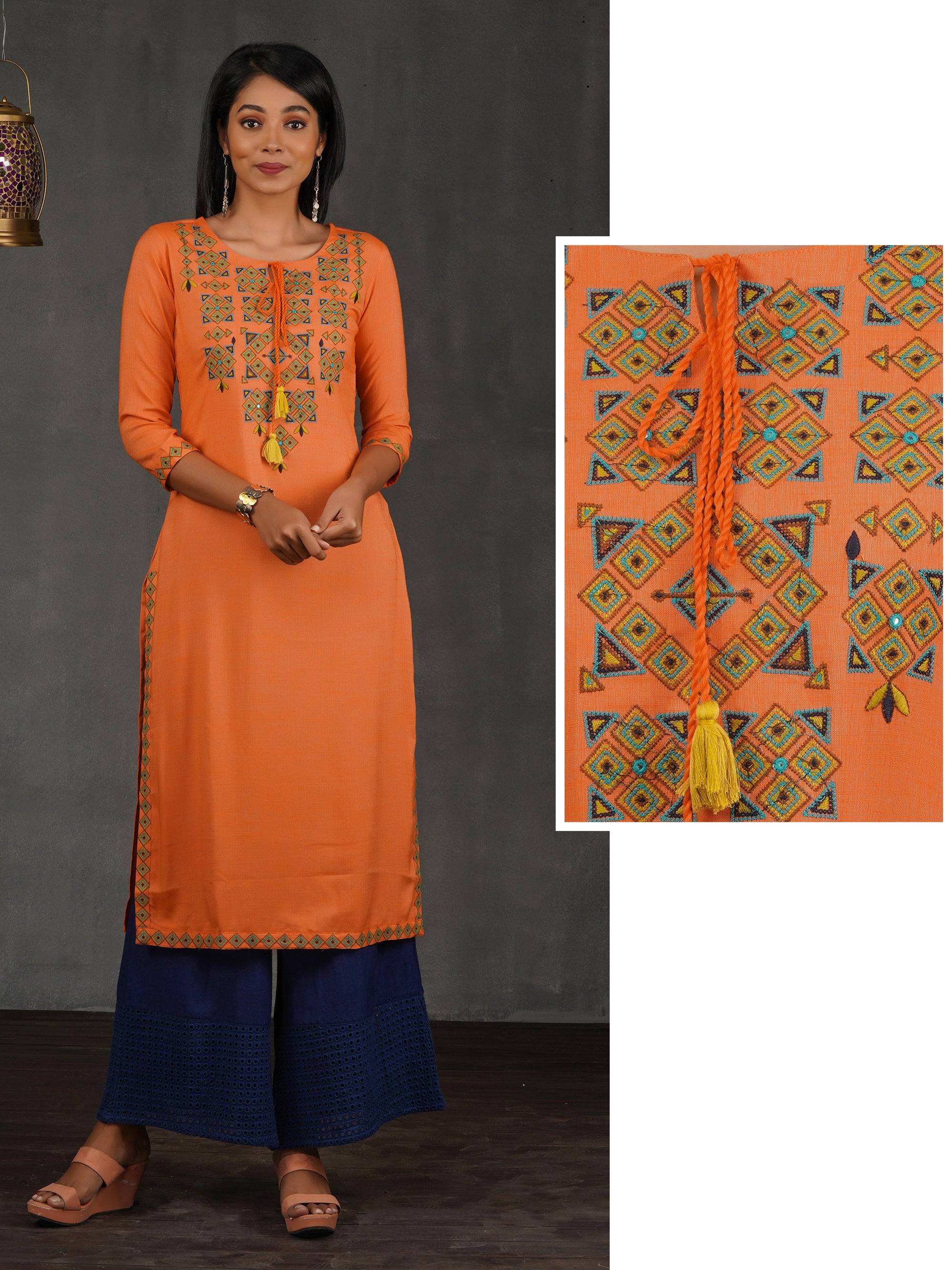 Cross Stitch Embroidered Cotton Kurti