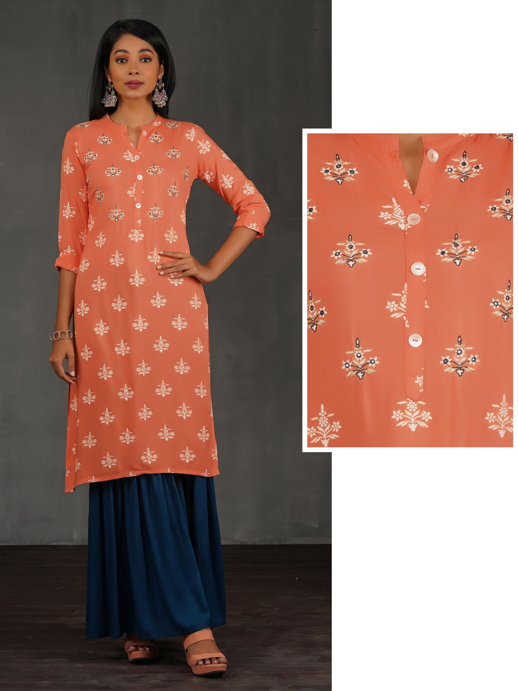 Floral Printed And Chain Embroidered Foil Mirror Work Kurta - Peach