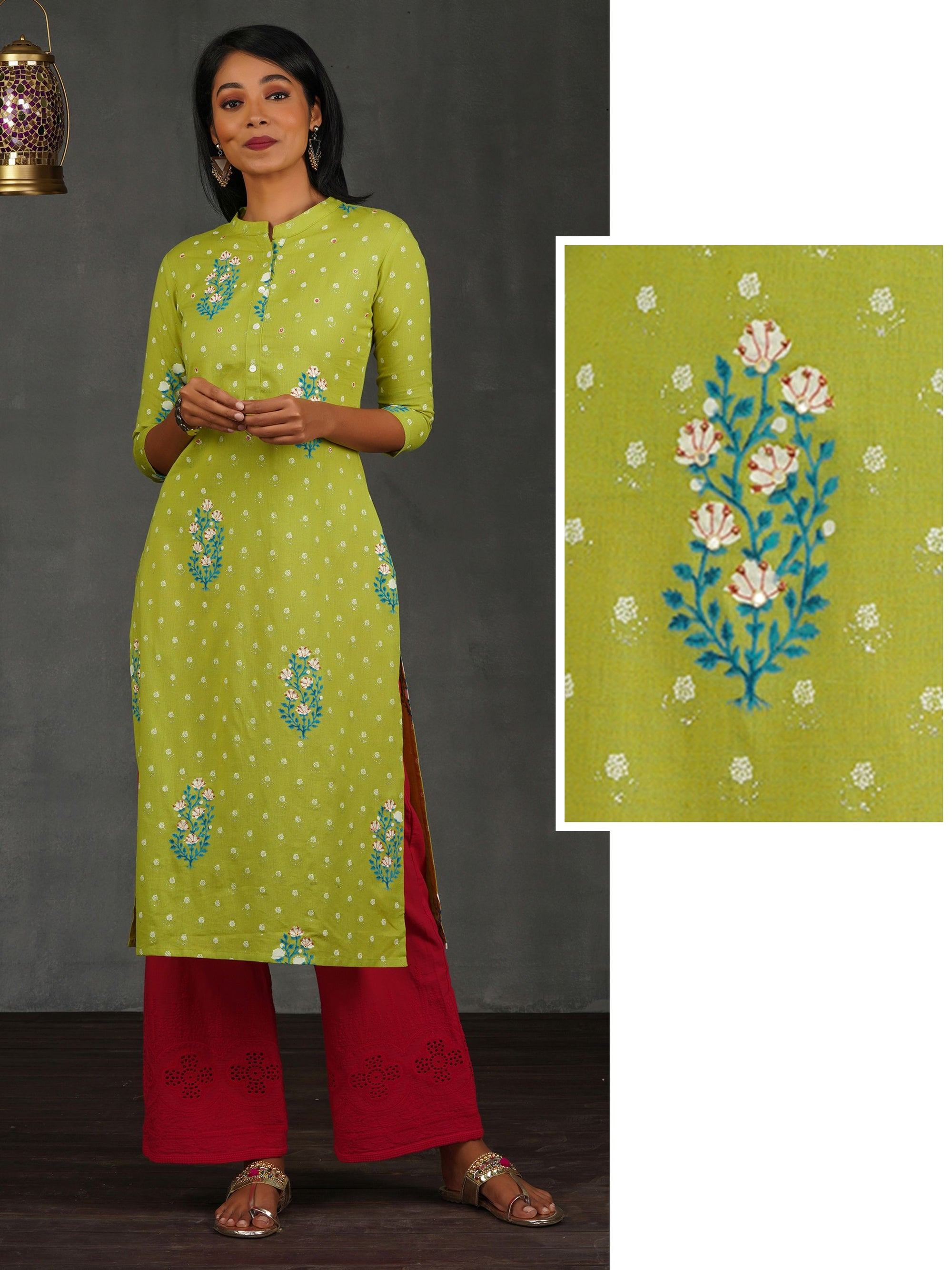 Hand Block Floral Printed Kurti with Bead Embellishment – Lime Green
