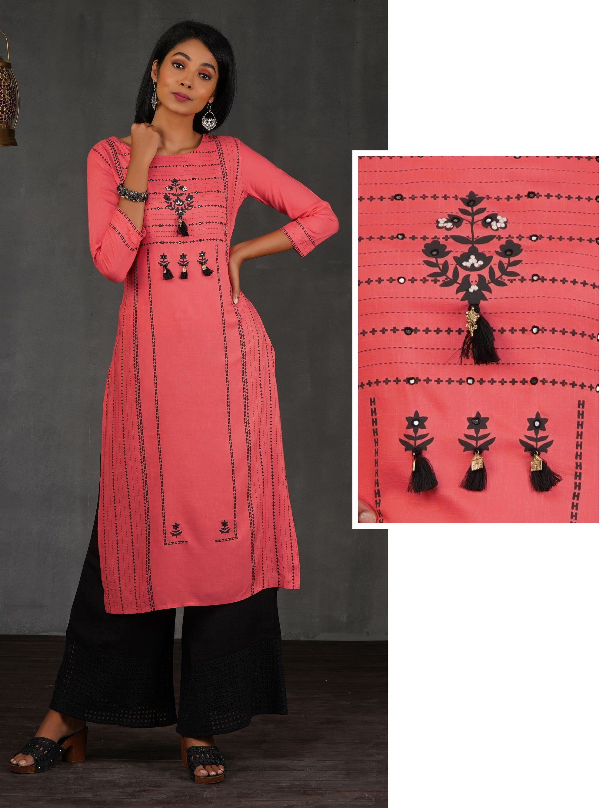 Floral & Chalk Striped Printed Kurti – Peach