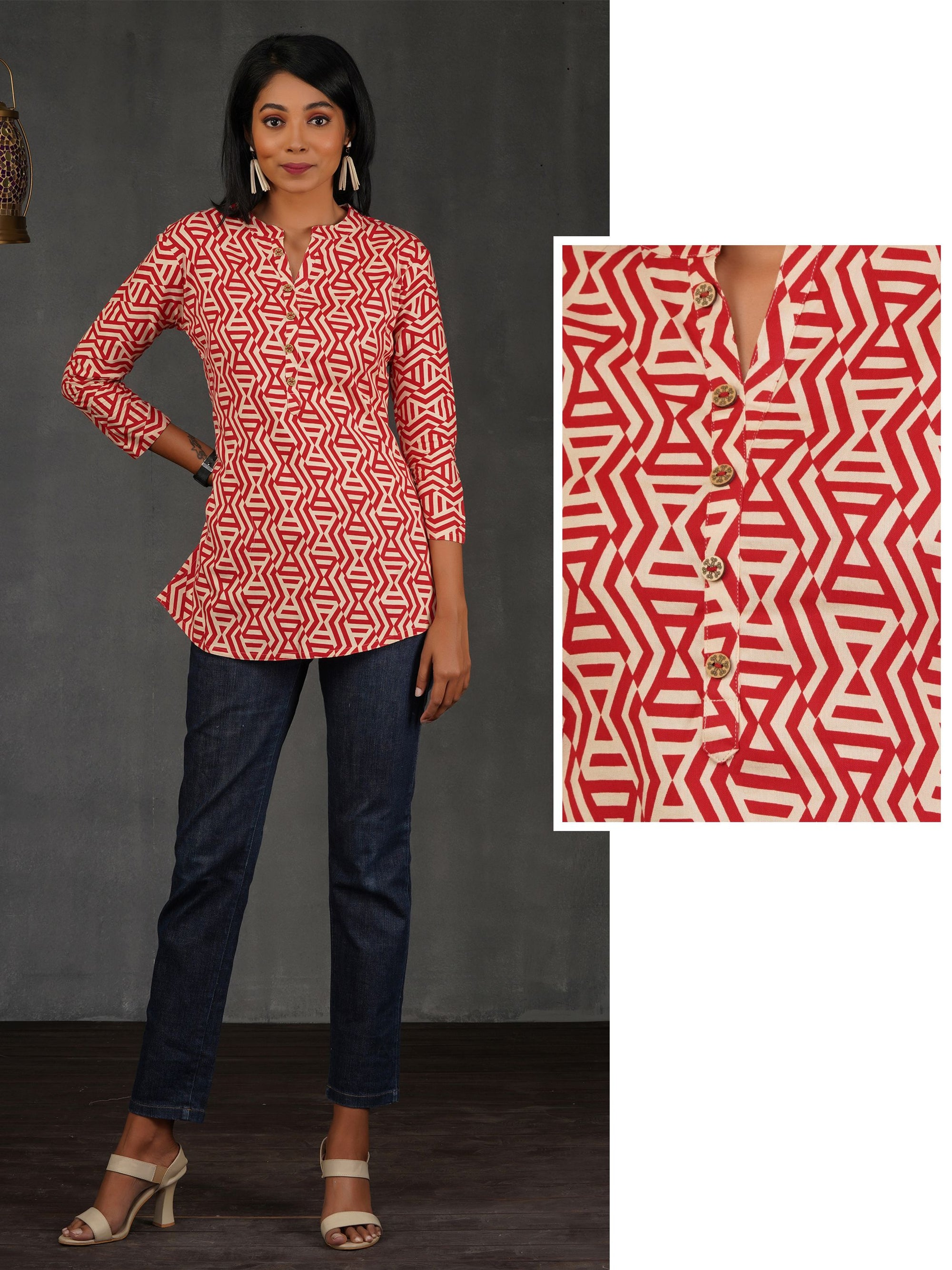 Premium Cotton Abstract Print Tunic – Red