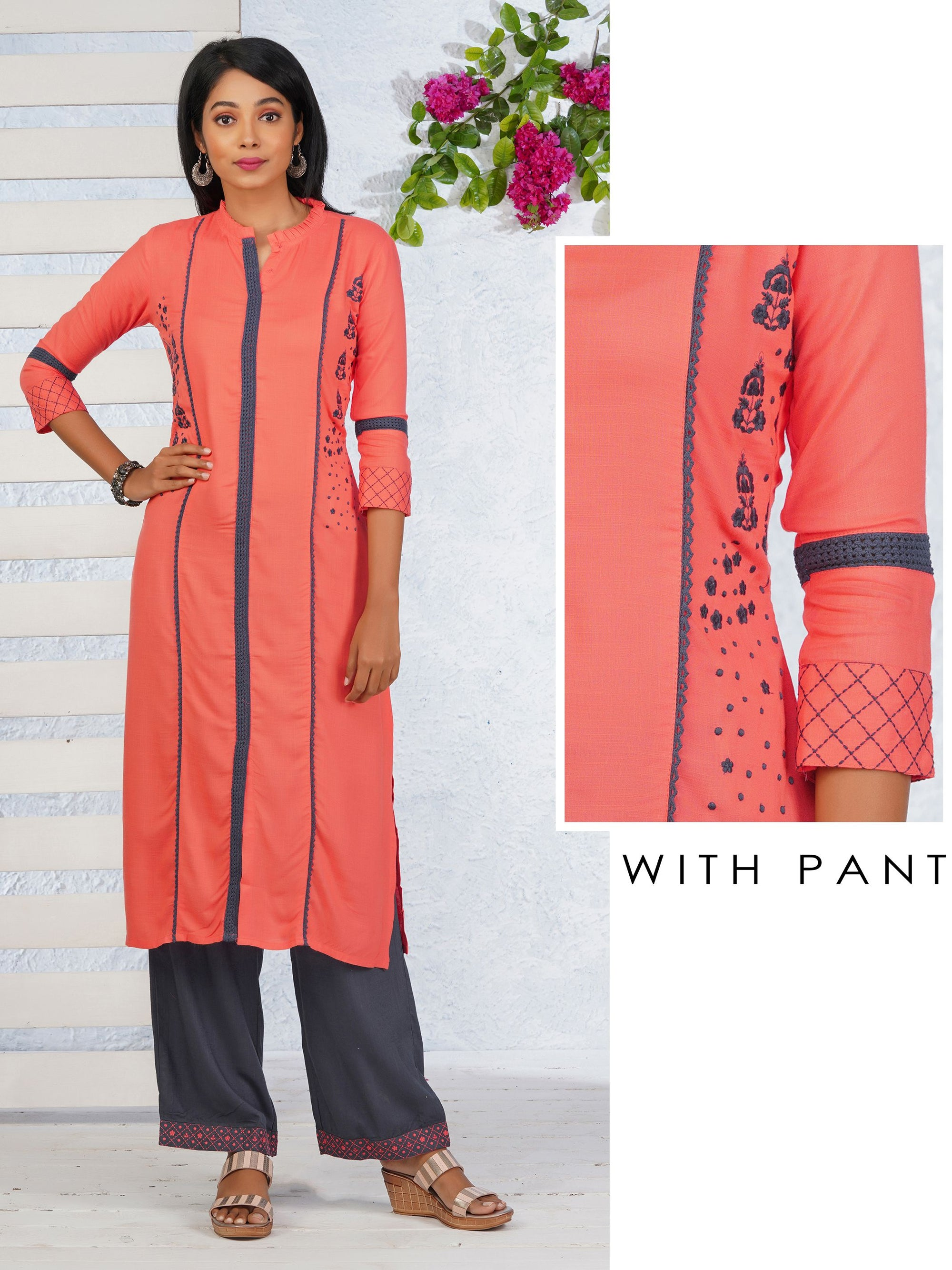 Floral Embroidered Panel Kurti & Minimal Embroidered Pant Set