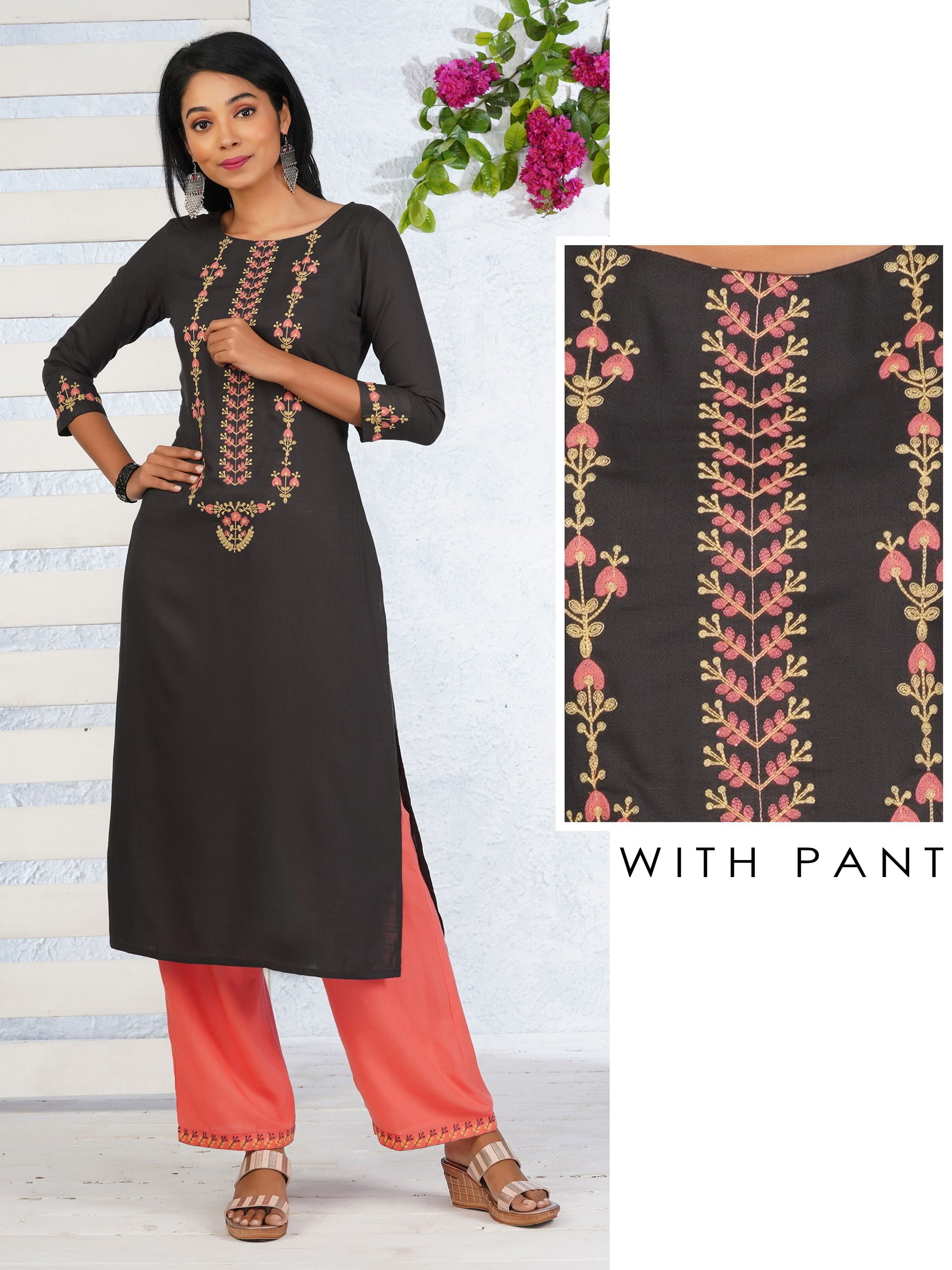 Floral Embroidered Kurti & Minimal Embroidered Pant Set