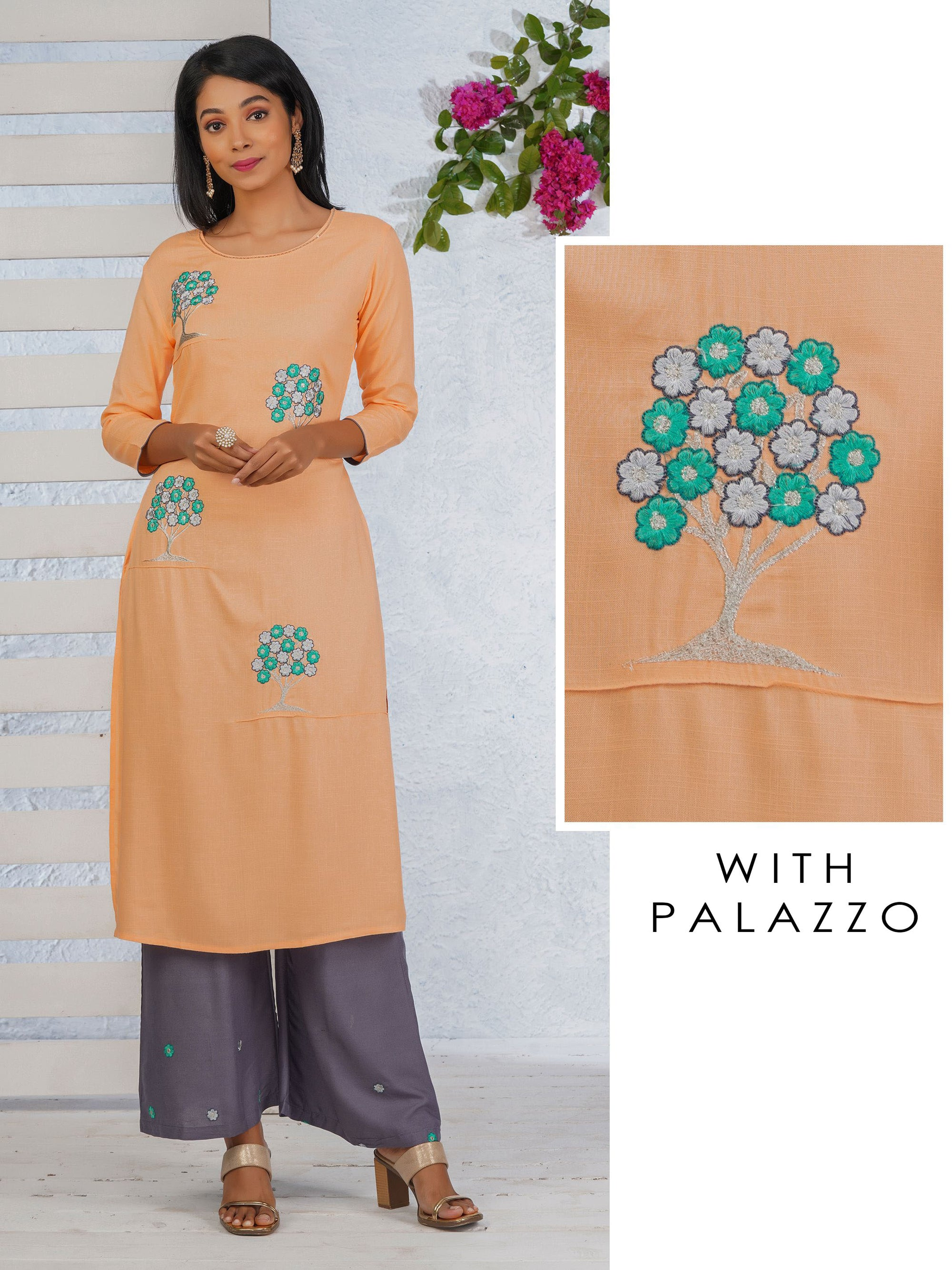Floral Tree Embroidered Kurti with Palazzo