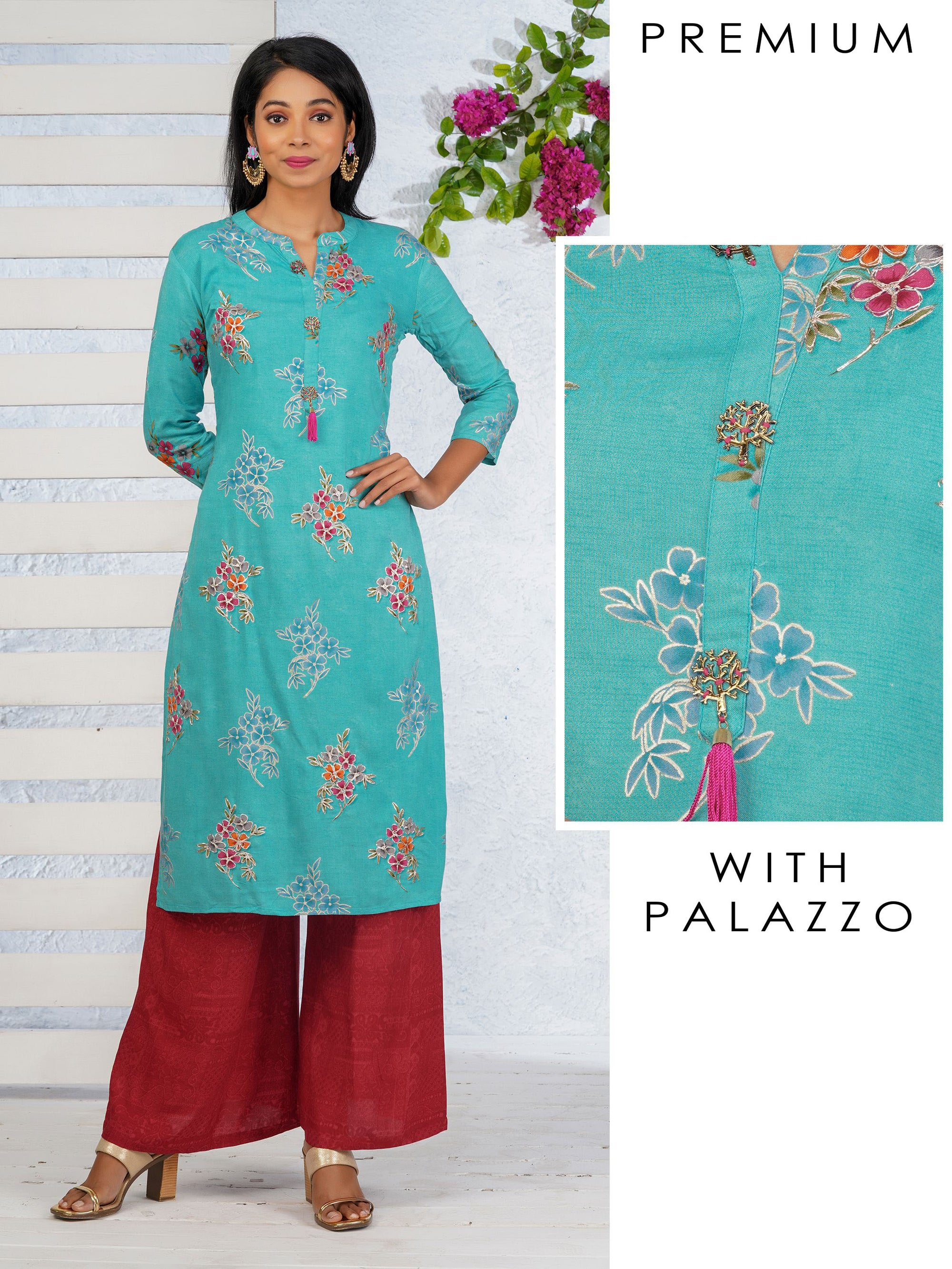 Tree Brooch & Floral Embroidered Kurti with Self Printed Palazzo